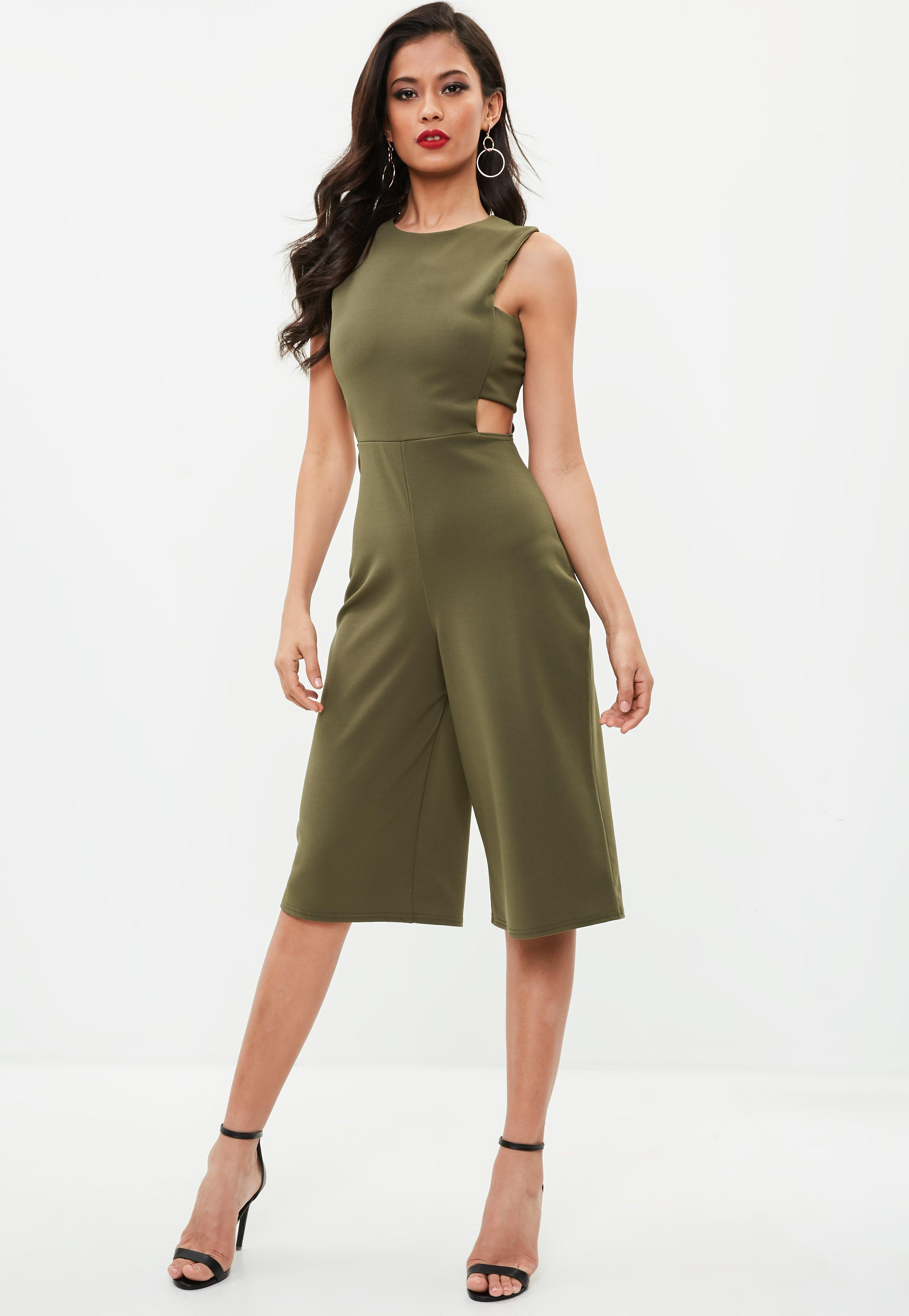 bc692d294f8 Missguided Khaki Side Tab Culotte Jumpsuit in Green - Lyst