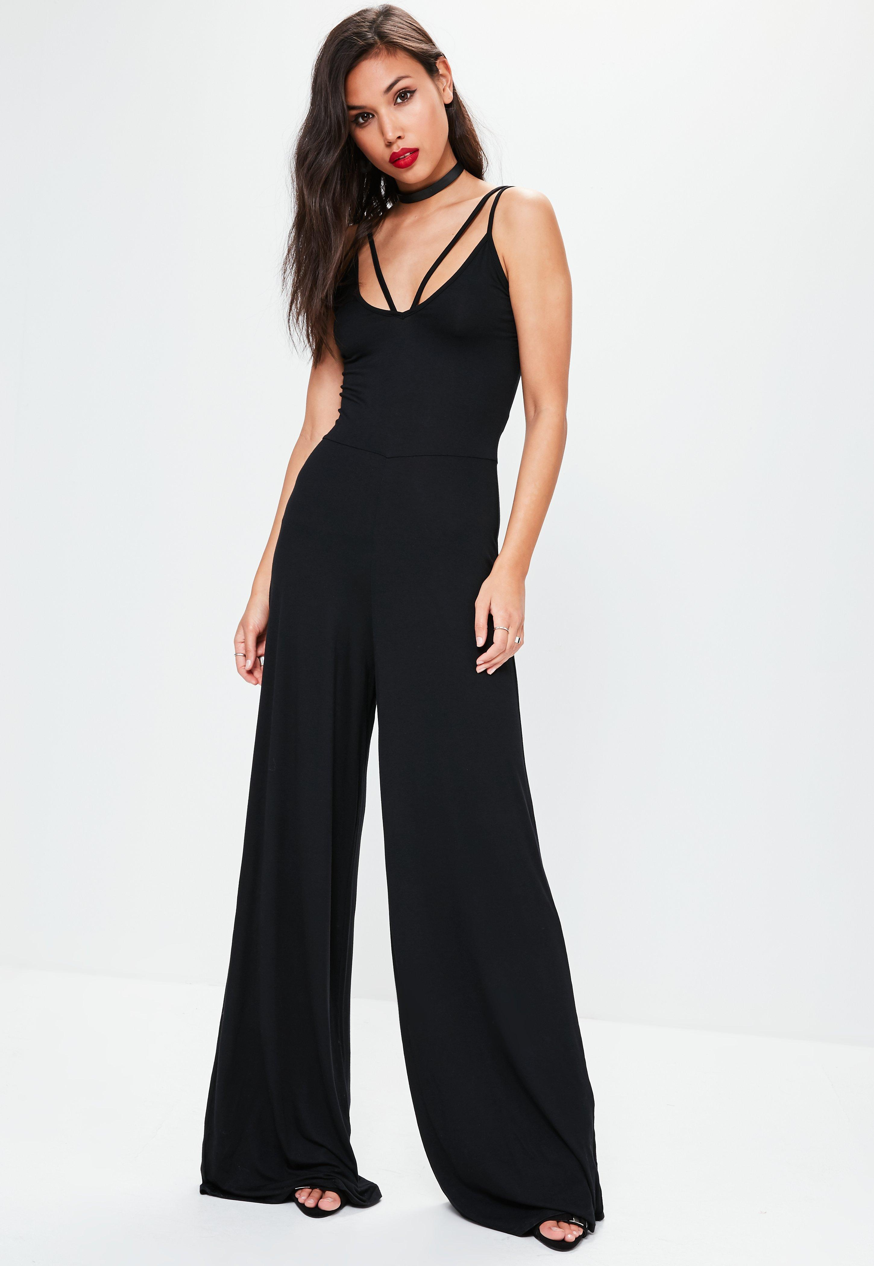 30d1d409d9a Lyst - Missguided Tall Exclusive Black Harness Wide Leg Jumpsuit in ...