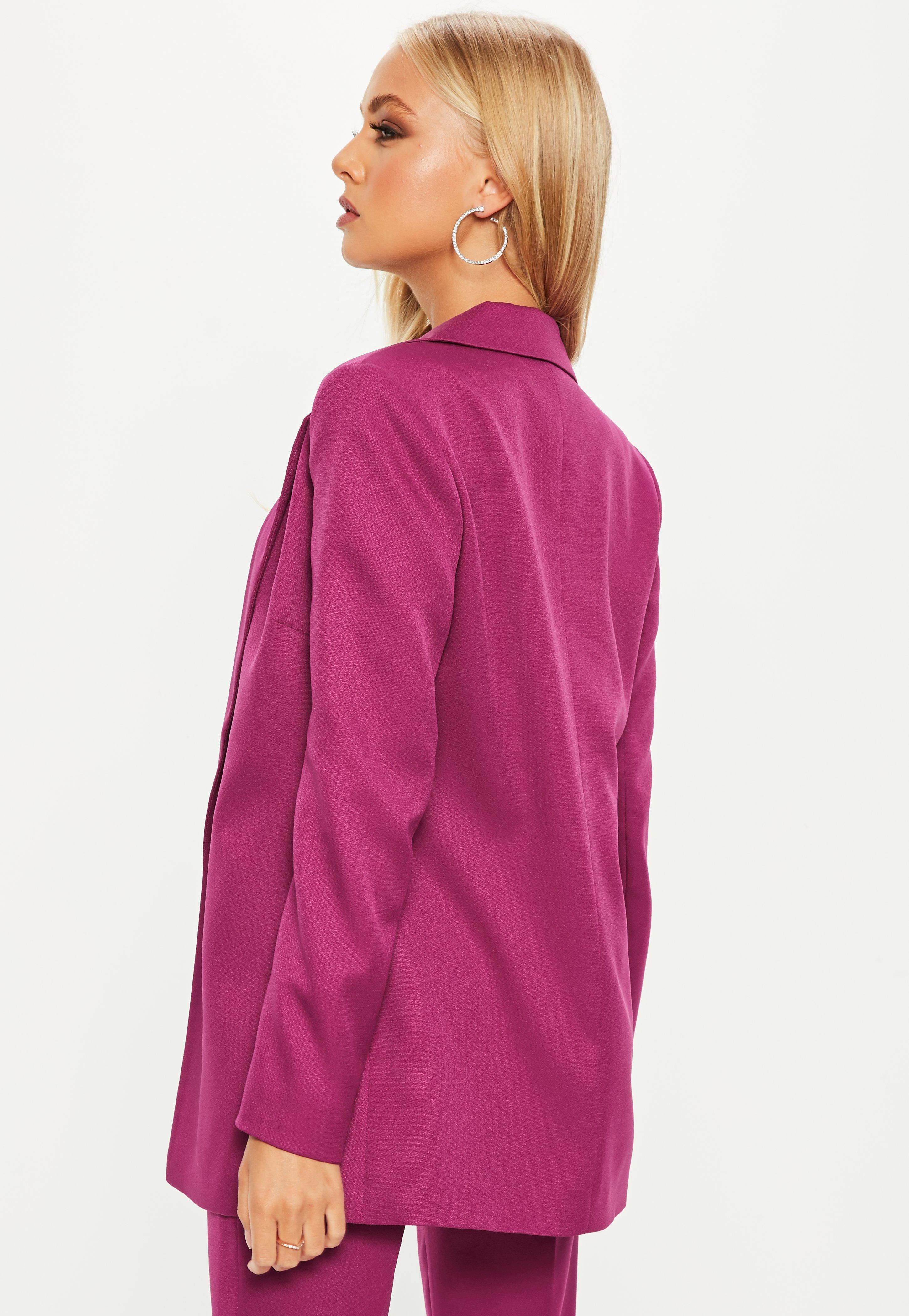 Missguided Synthetic Purple Boyfriend Blazer