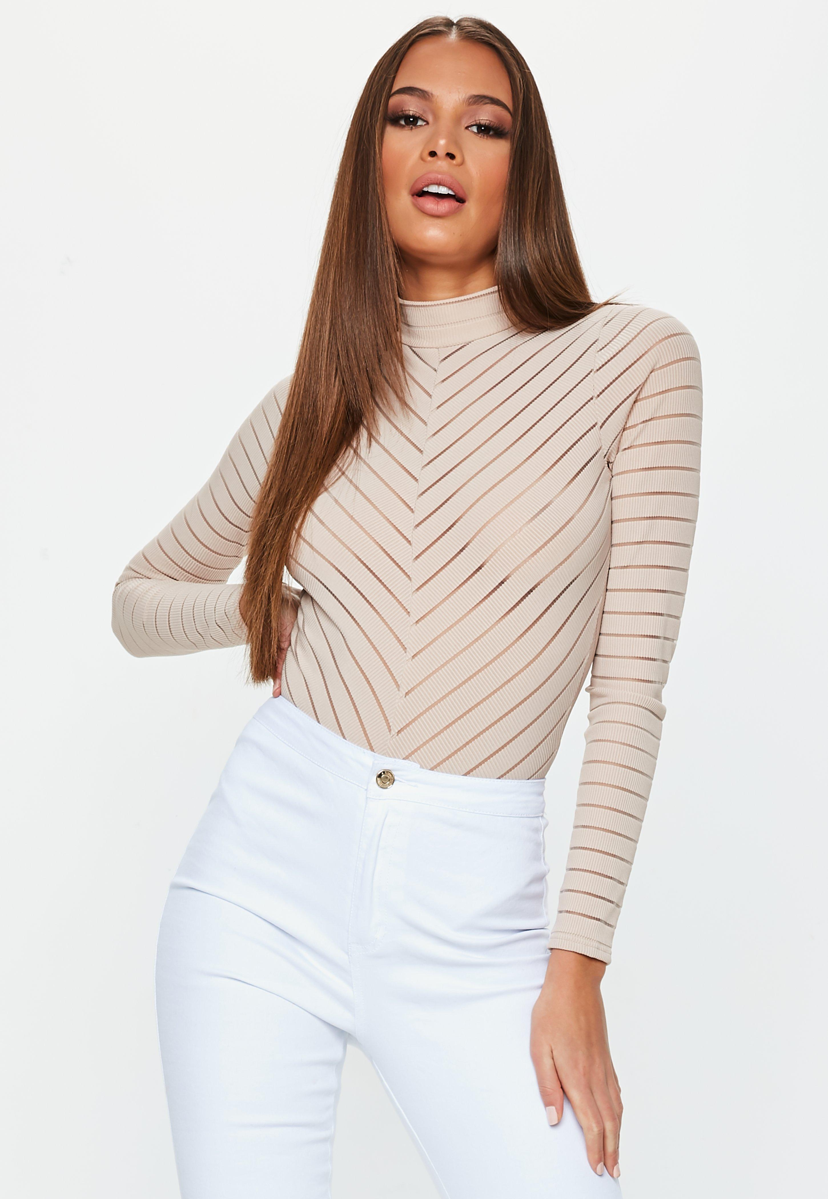 Missguided Nude Long Sleeve Chevron Bodysuit in Natural - Lyst 2ef88cedc