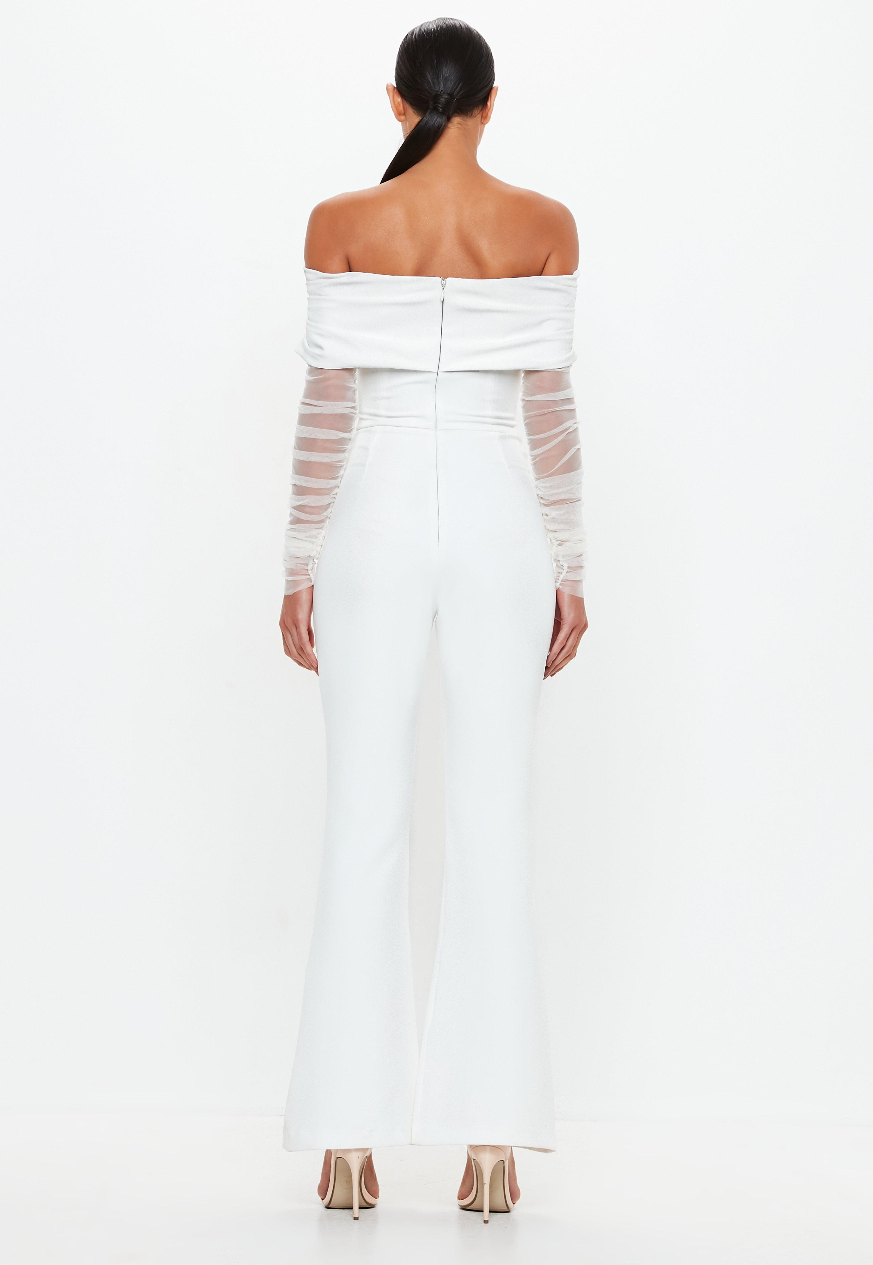 40b23d4c4160 Lyst - Missguided Peace + Love White Bardot Flare Leg Jumpsuit in White