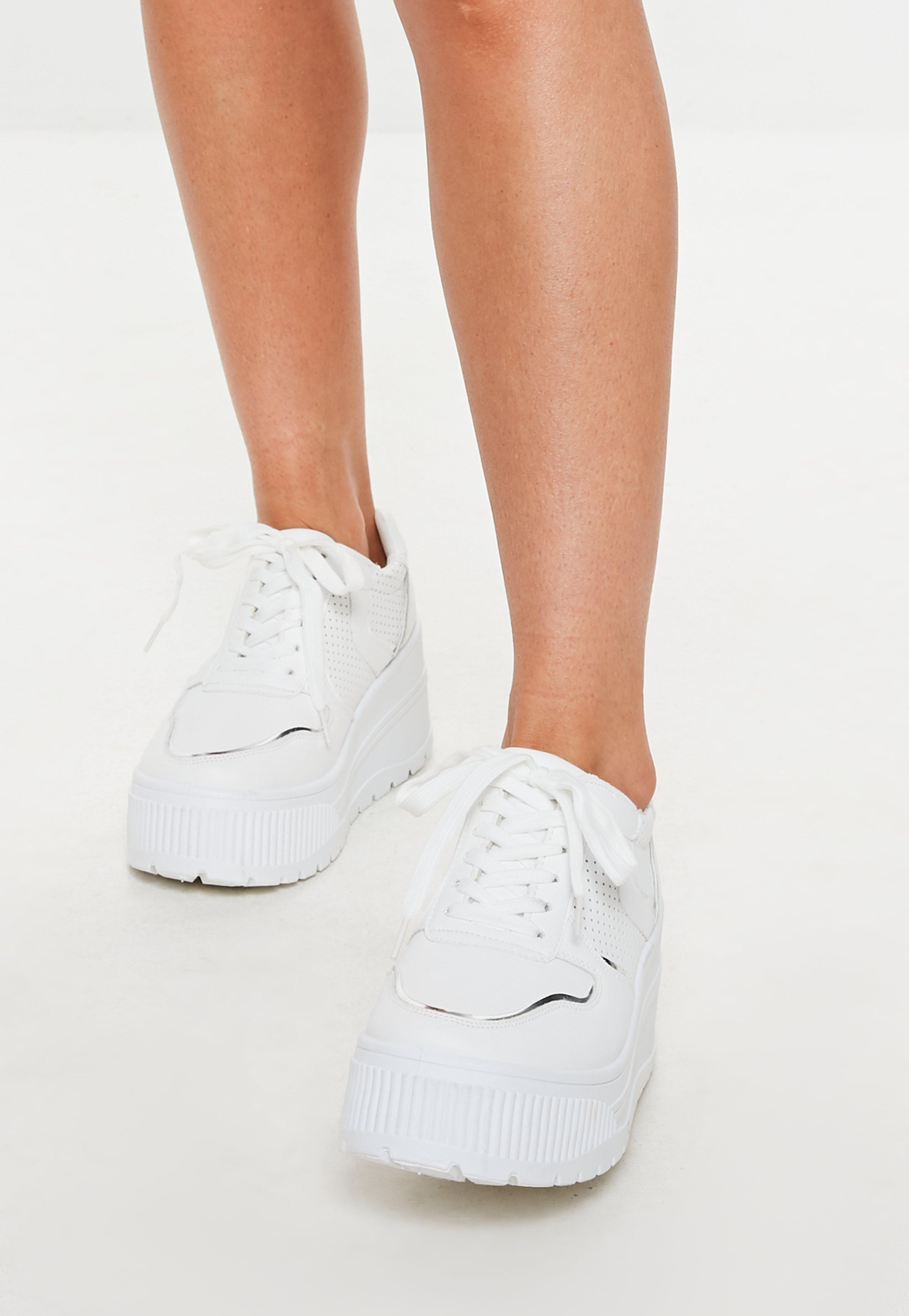 Missguided White Extreme Flatform Lace Up Trainers