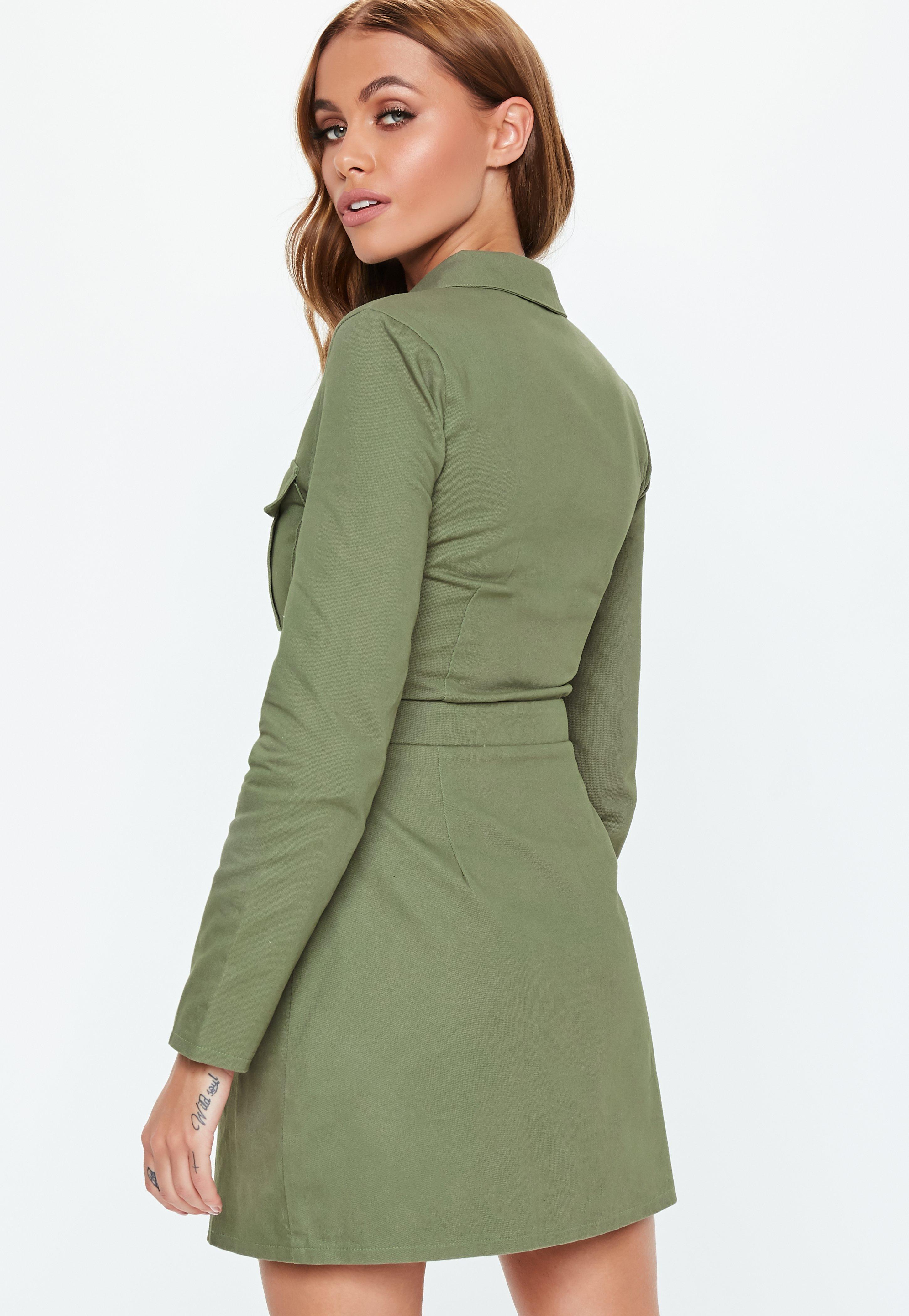 9575f47e8b Missguided - Green Khaki Zip Through Skater Shirt Dress - Lyst. View  fullscreen