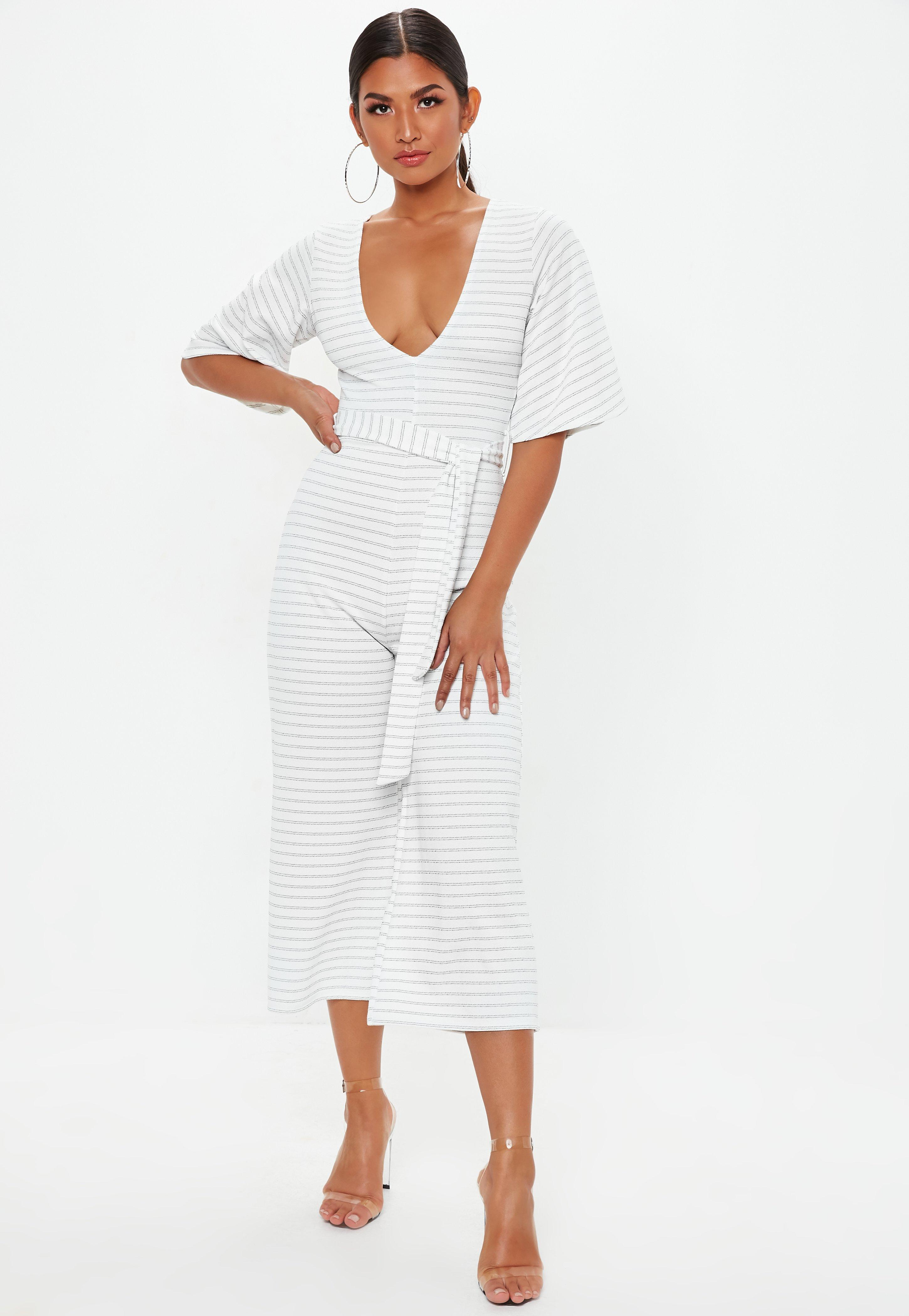 4fefa724d1 Missguided White Stripe Kimono Sleeve Culotte Jumpsuit in White - Lyst