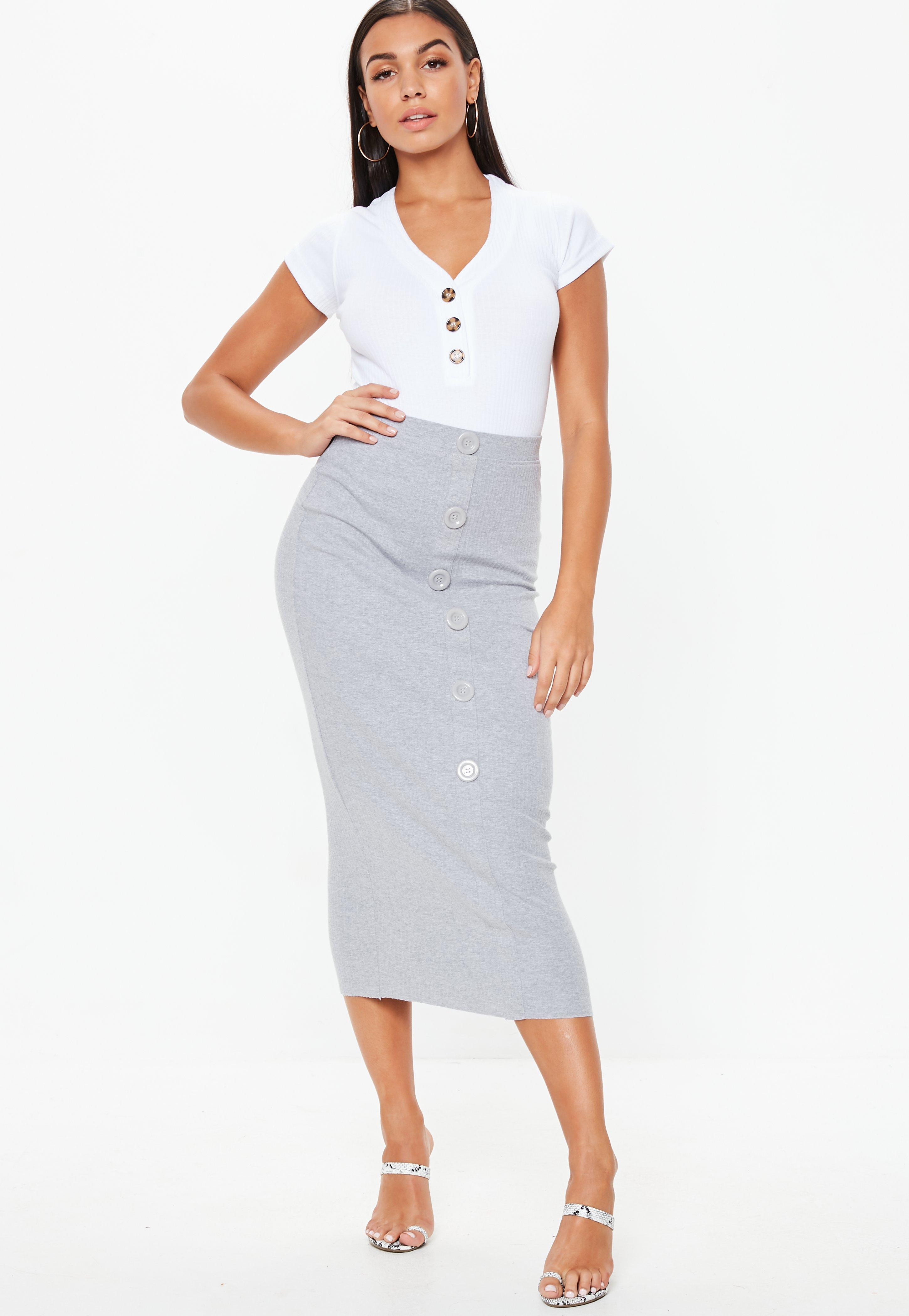ccd82c3b7 Lyst - Missguided Grey Ribbed Button Front Split Midi Skirt in Gray