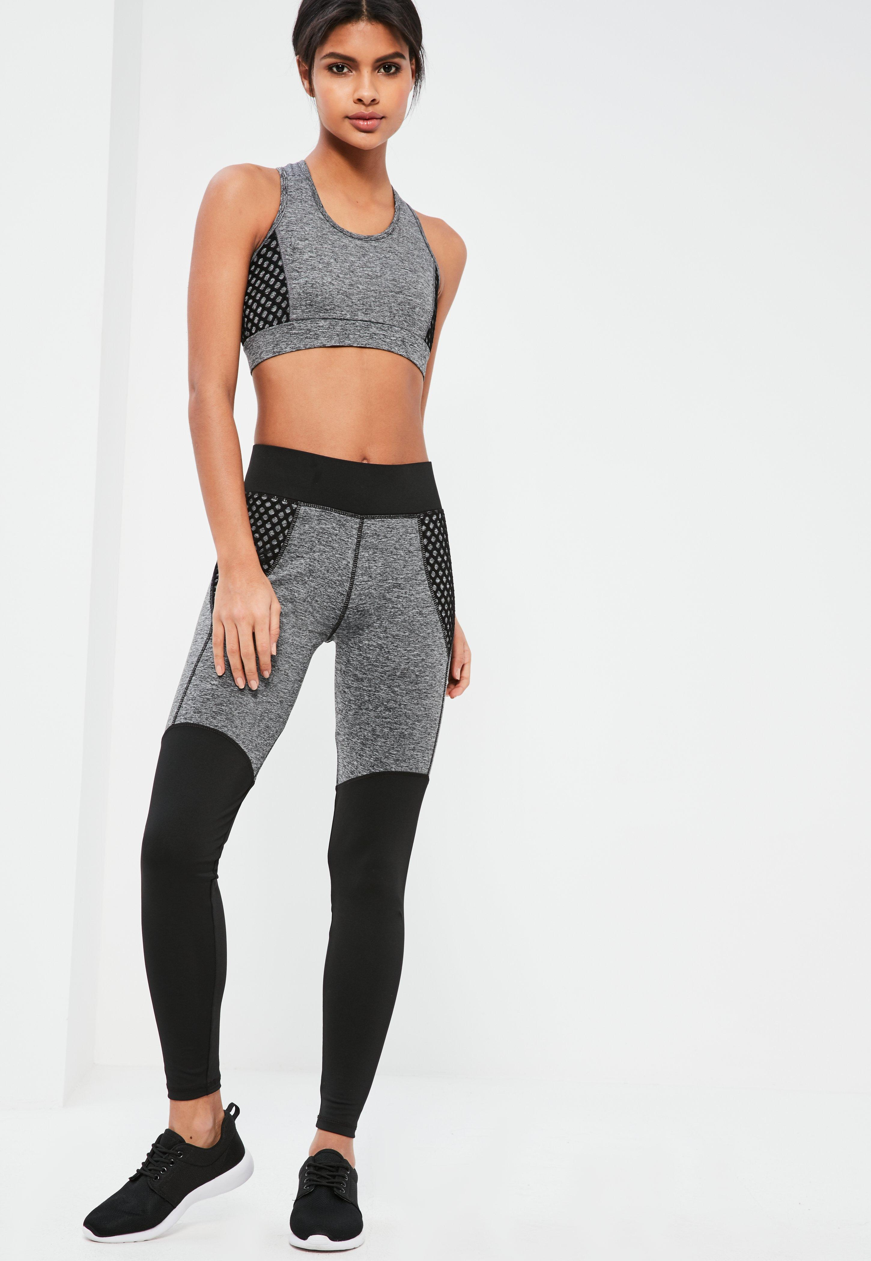 6b370bef830e82 Missguided Active Grey Fishnet Detail Sports Leggings in Gray - Lyst