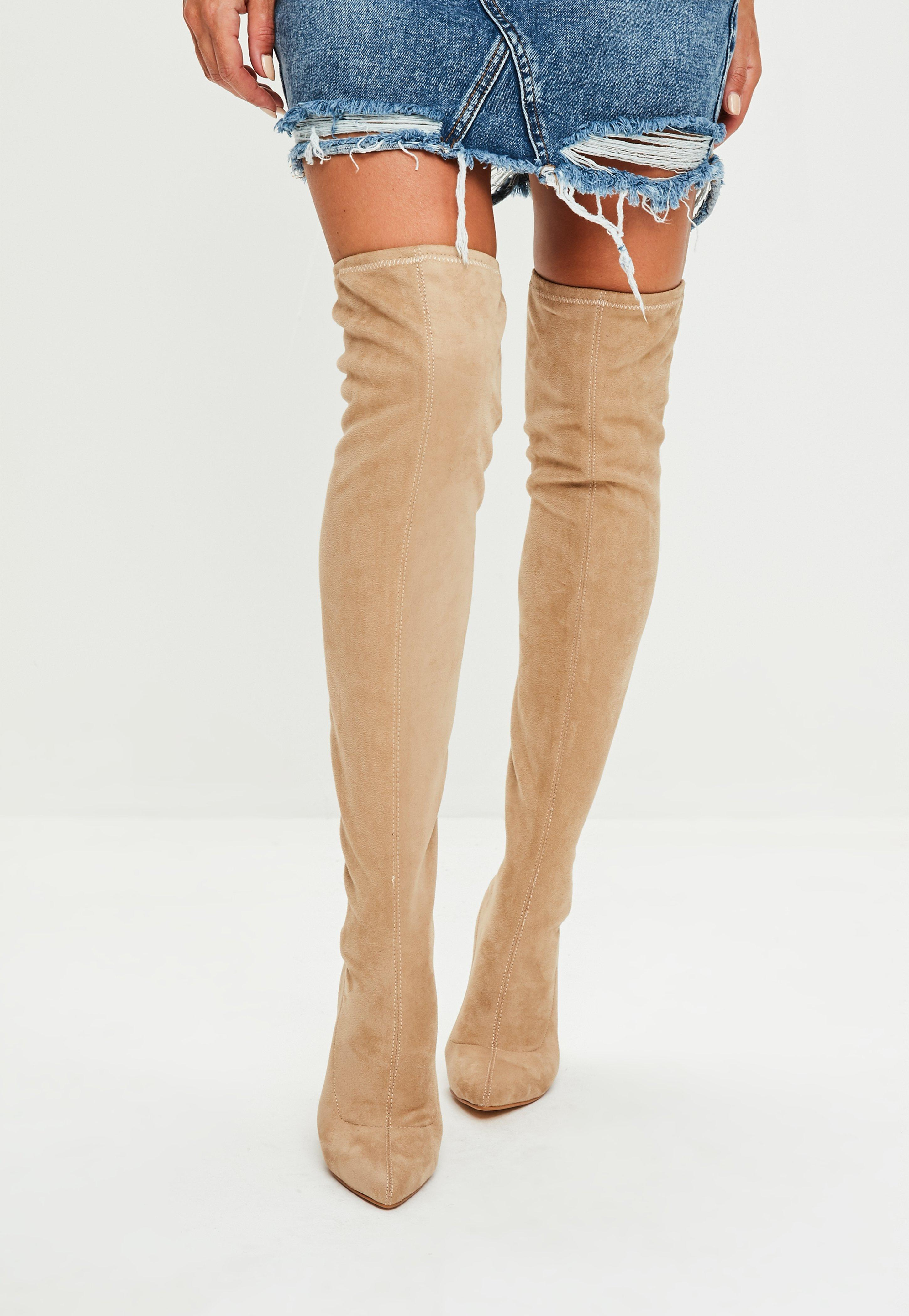 Missguided Nude Pointed Faux Suede Over