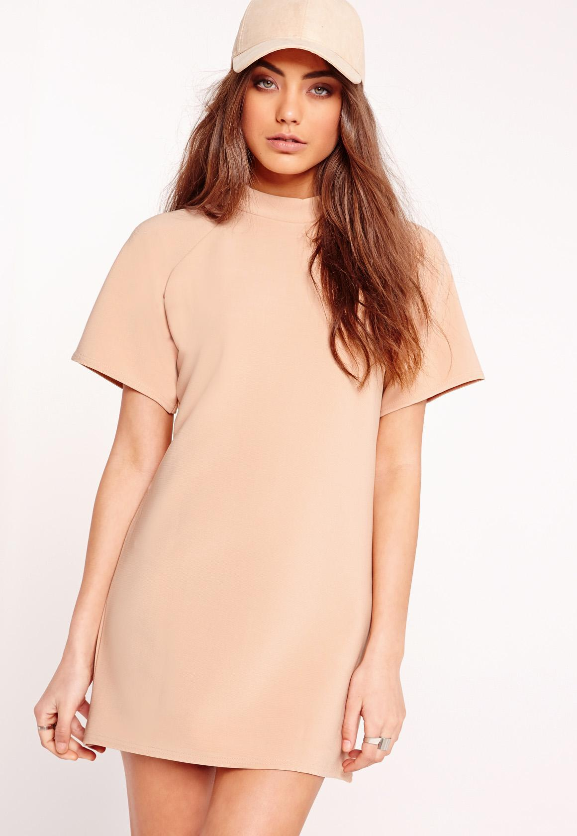 dc4f772bfe7 Missguided Short Sleeve Oversized Sweater Dress Nude in Natural - Lyst