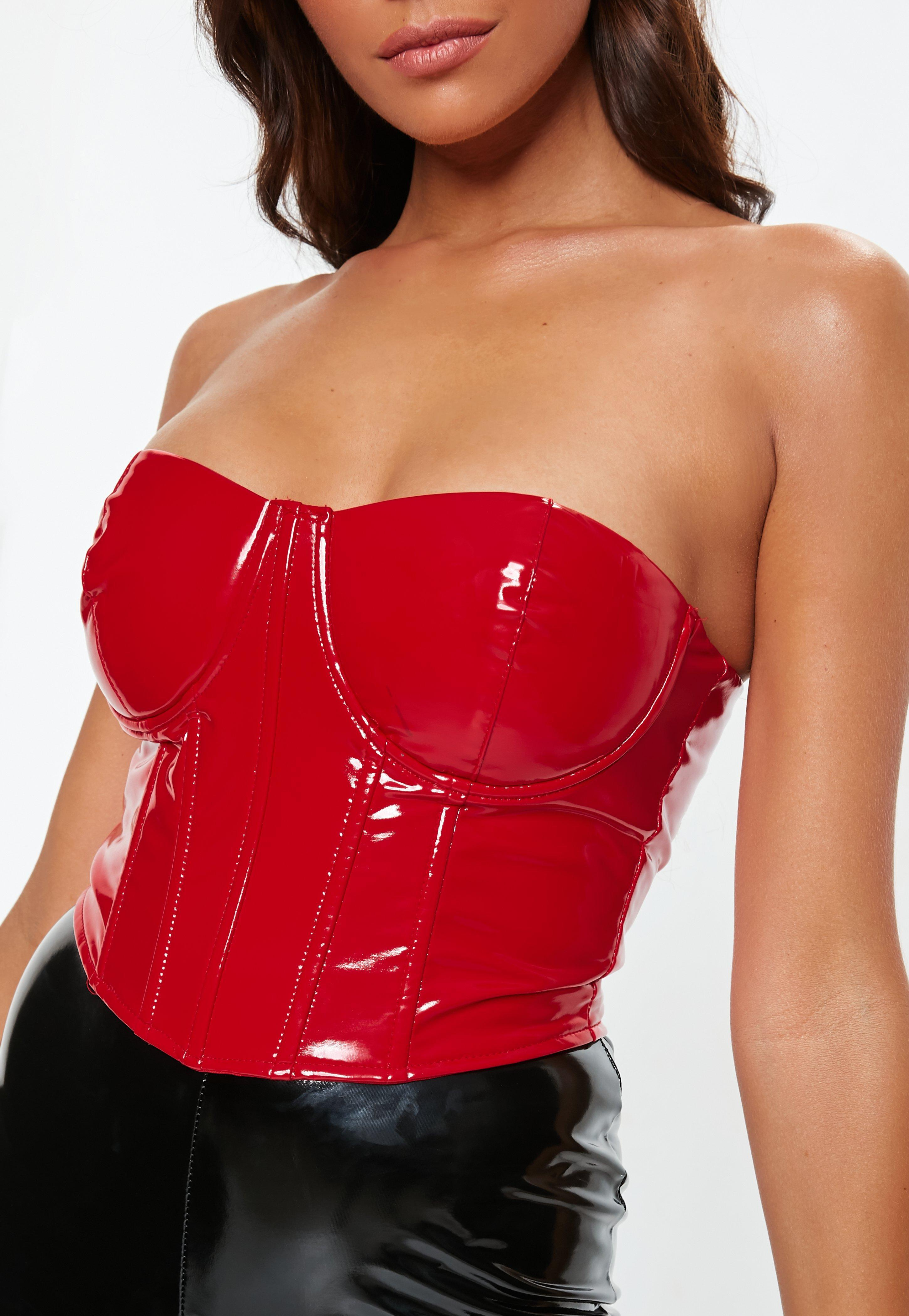 927e0cfd236f94 Lyst - Missguided Red Vinyl Corset in Red