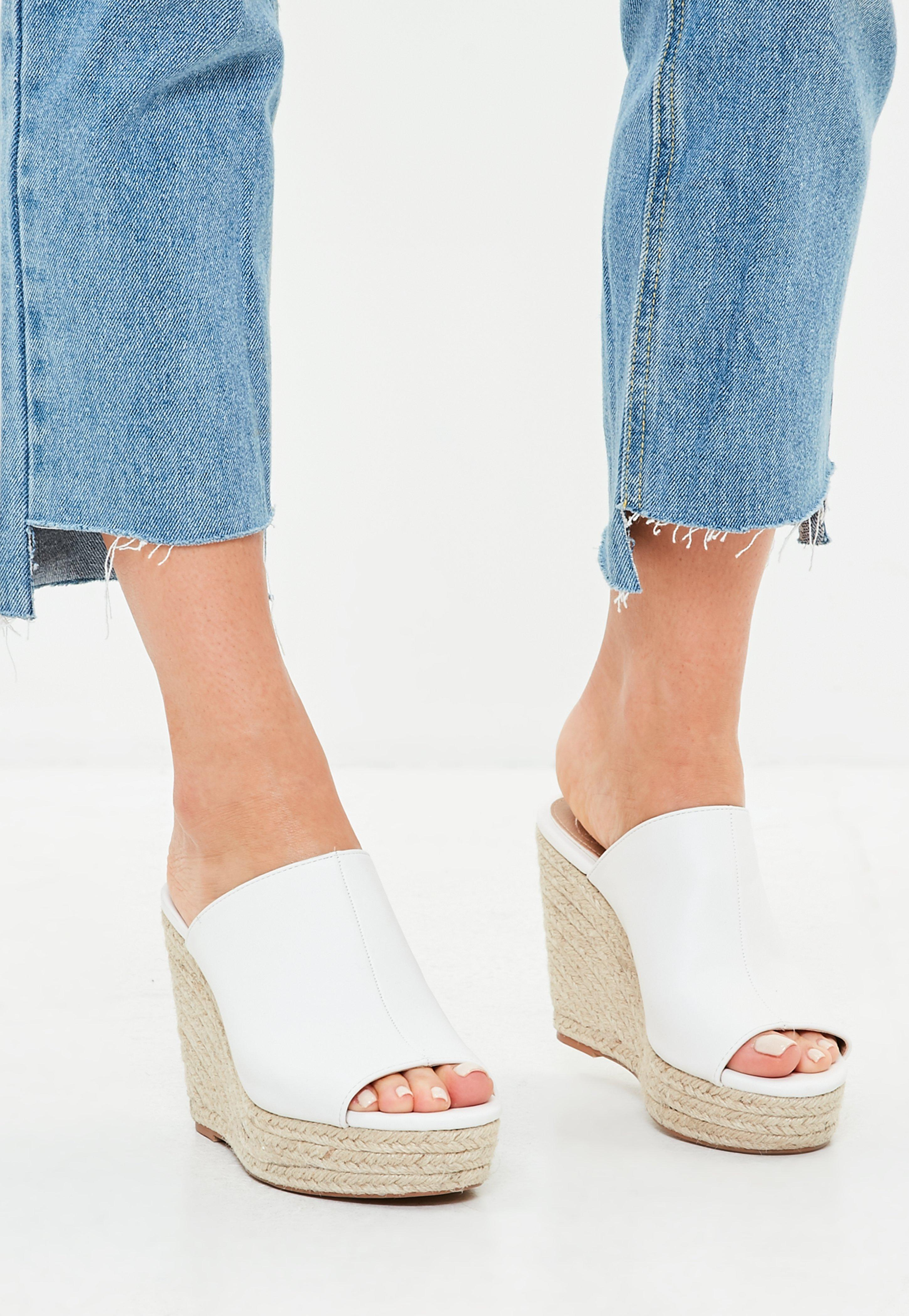 Missguided White Faux Leather Espadrille Wedge Heeled
