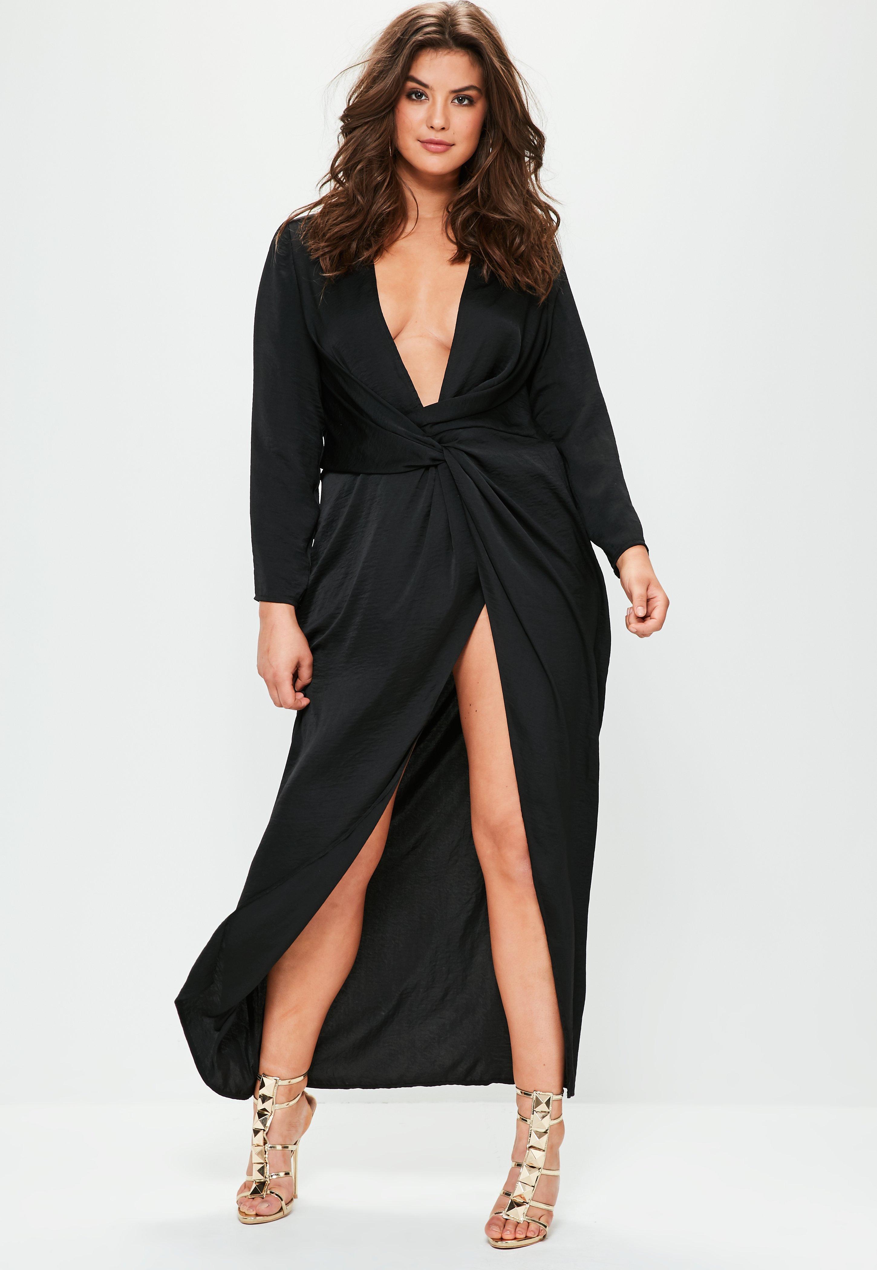 Satin maxi dress plus size