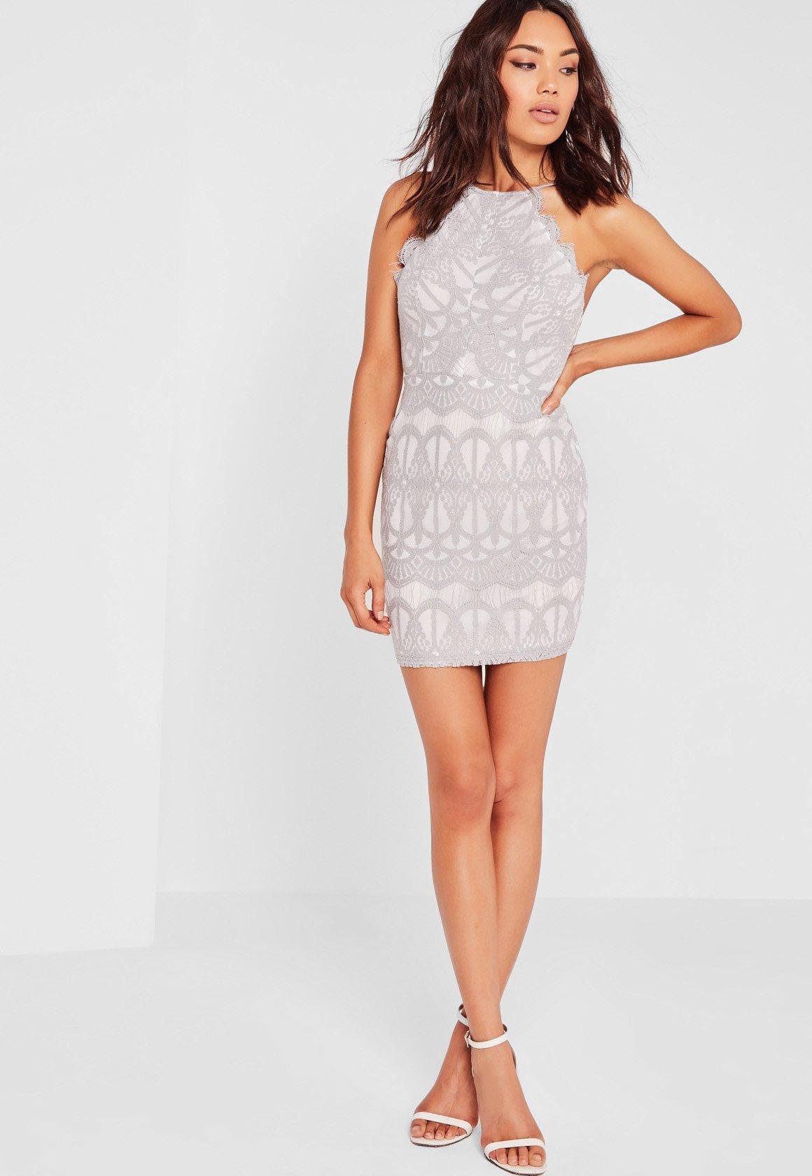 Lyst - Missguided Lace Strappy Bodycon Dress Grey in Gray ...