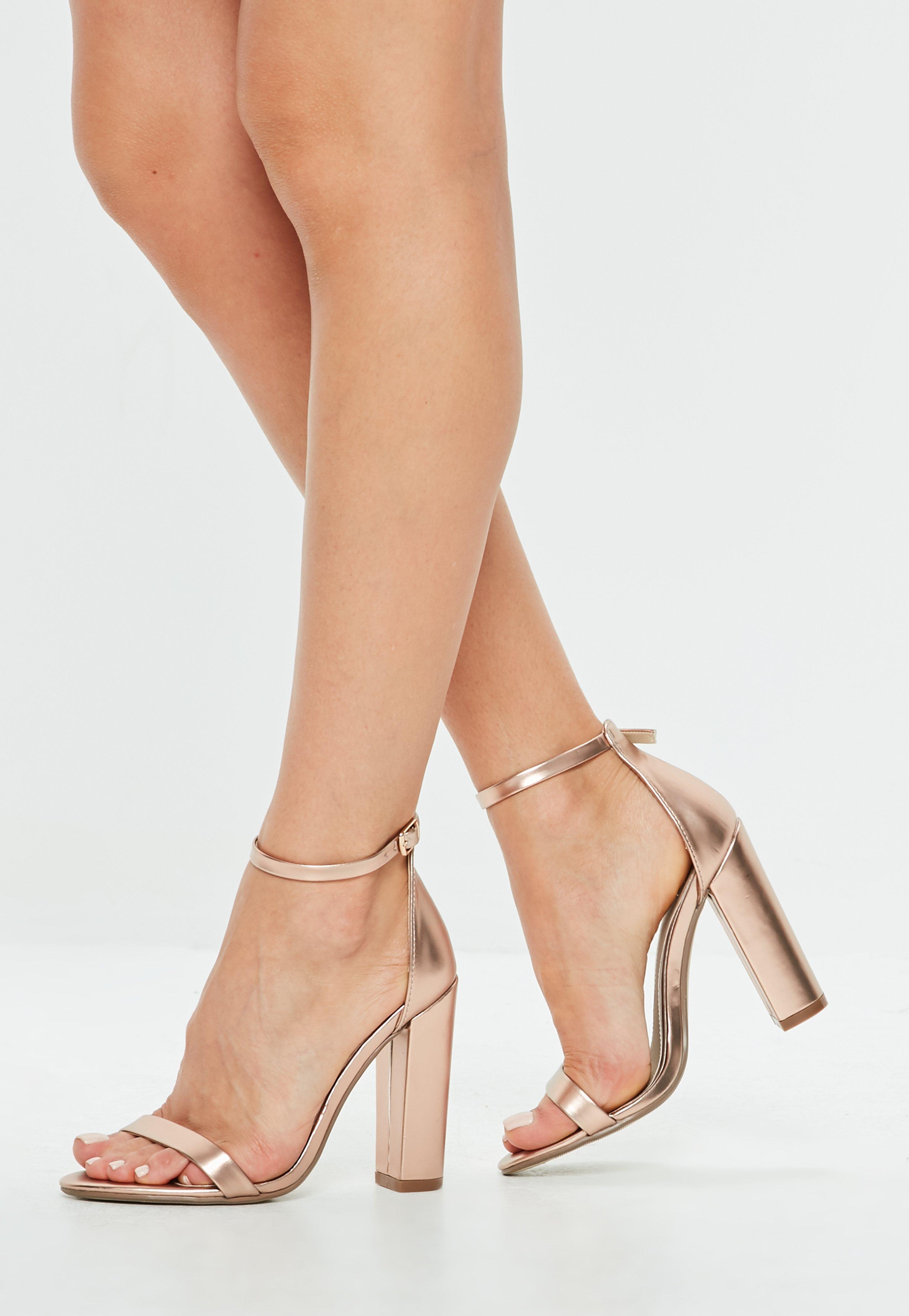 872b4fce4bc Missguided Rose Gold Matt Block Heel Sandals in Pink - Lyst