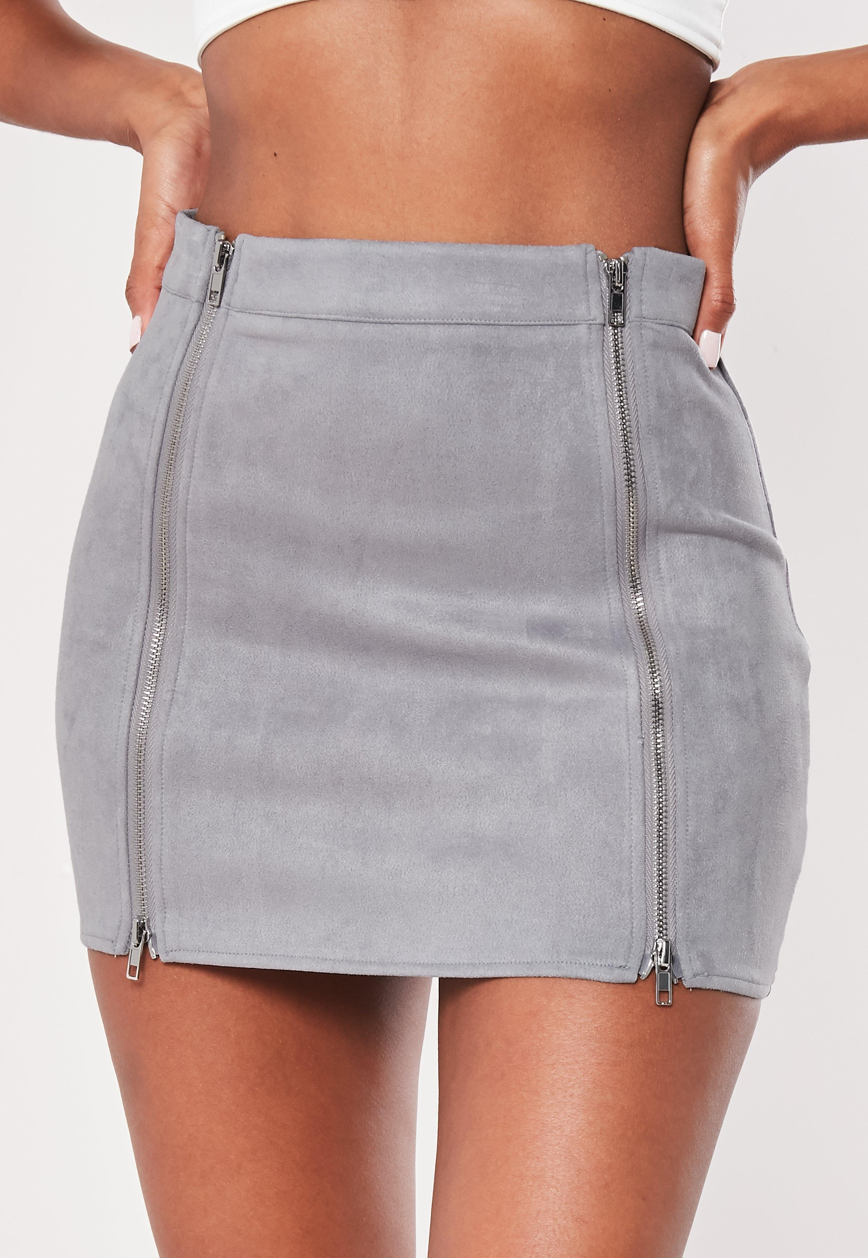 05ad61de14 Lyst - Missguided Petite Grey Faux Suede Double Zip Mini Skirt in Gray