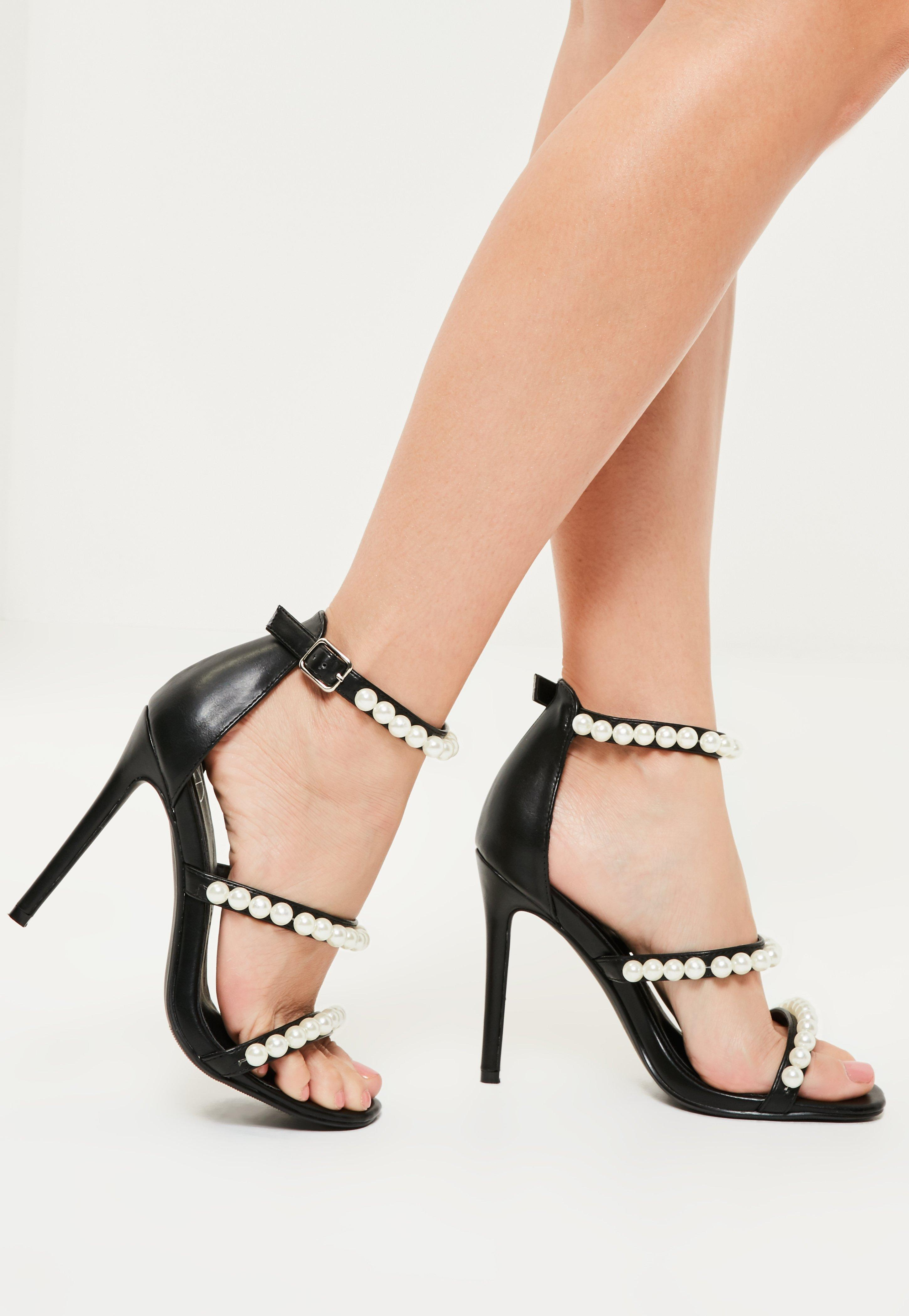 e3a1ca6580 Missguided Black Pearl Embellished Three Strap Barely There Heels in ...