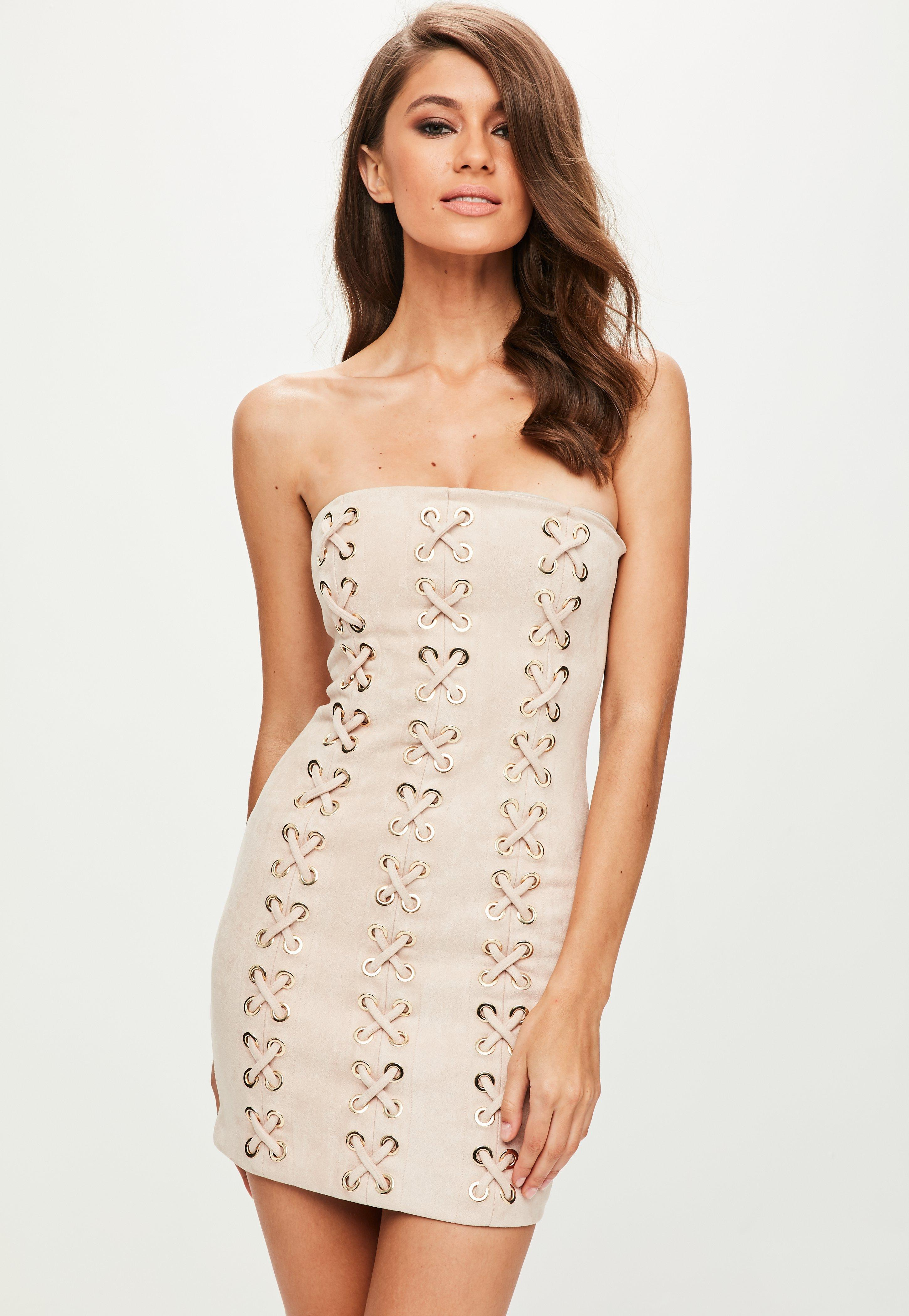 Choker neck flared sleeve faux suede bodycon dress - nude