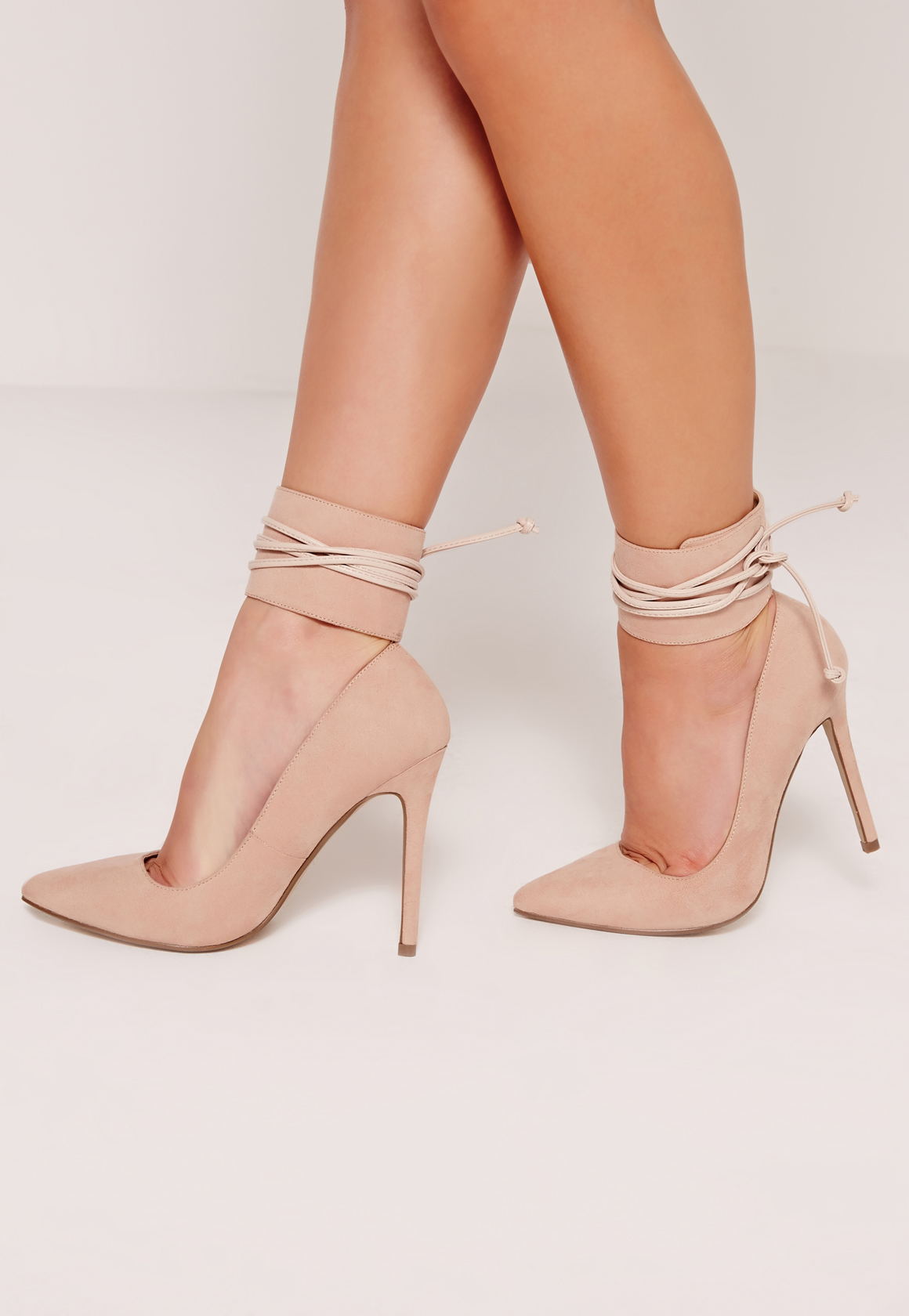Missguided Nude Lace Up Ankle Cuff Court Shoes In