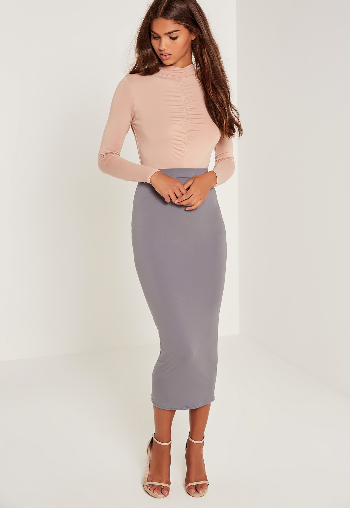 missguided jersey midi skirt grey in gray lyst