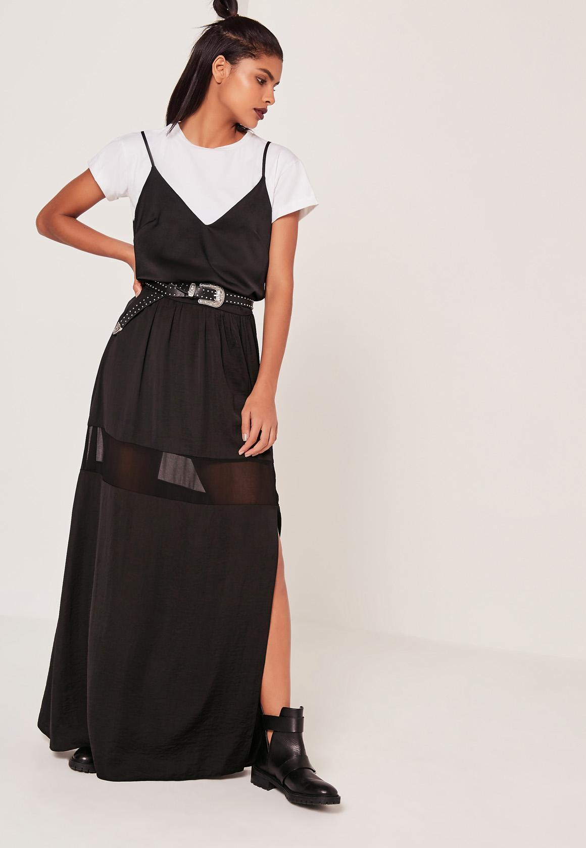 missguided mesh insert maxi skirt black in black lyst