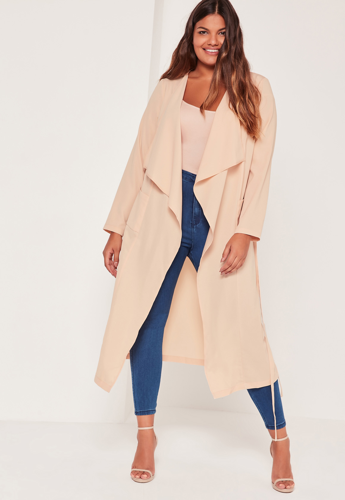 6f5aea5a0659d Lyst - Missguided Plus Size Waterfall Duster Jacket Nude in Natural