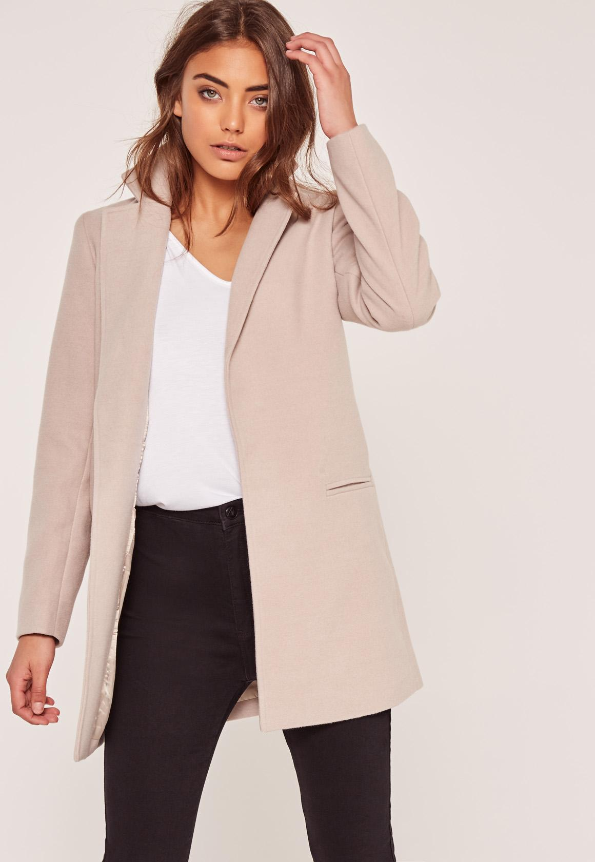 Missguided Nude Petite Short Tailored Faux Wool Coat In -8731