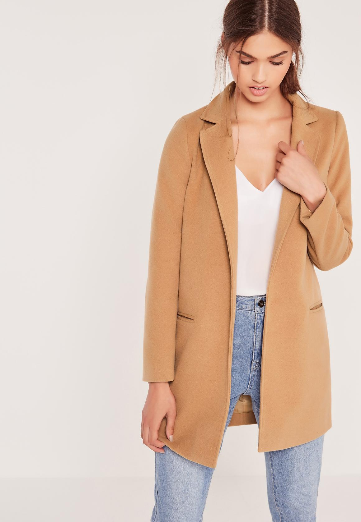 Missguided Camel Petite Short Tailored Faux Wool Coat in Blue | Lyst
