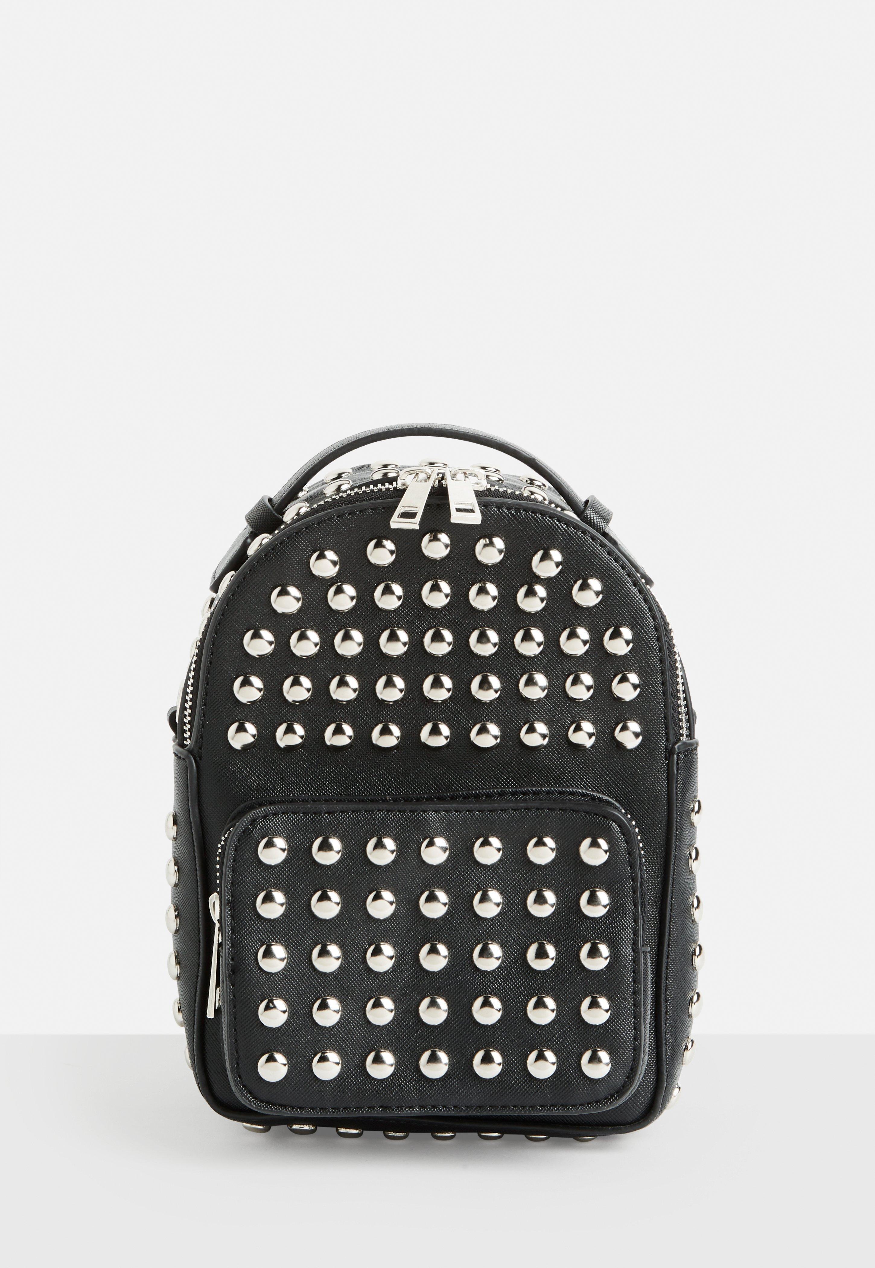 Lyst - Missguided Black Studded Mini Backpack in Black fcf33317abf9e