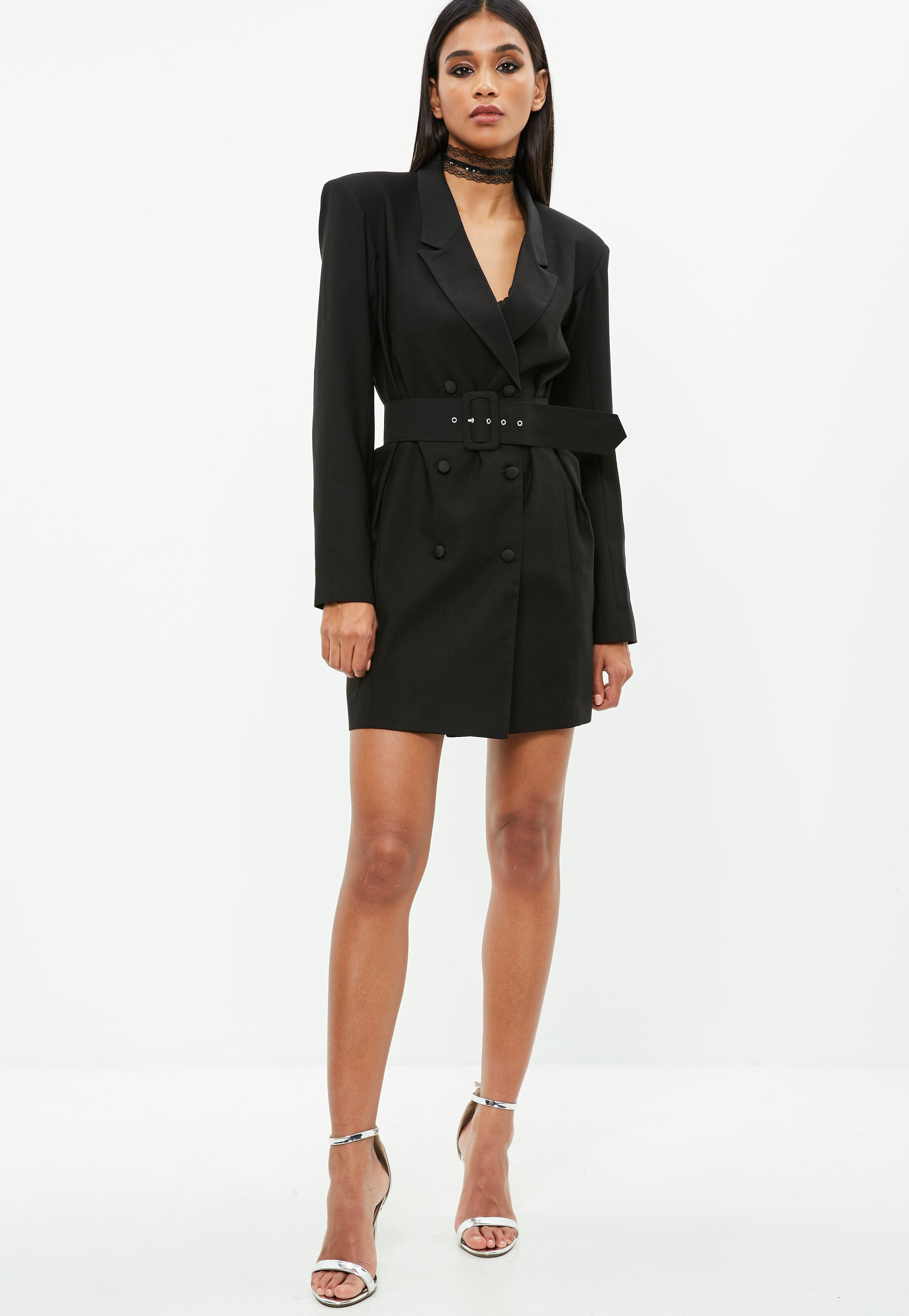 41a2733e937 Missguided Black Crepe Belted Button Blazer Dress in Black - Lyst