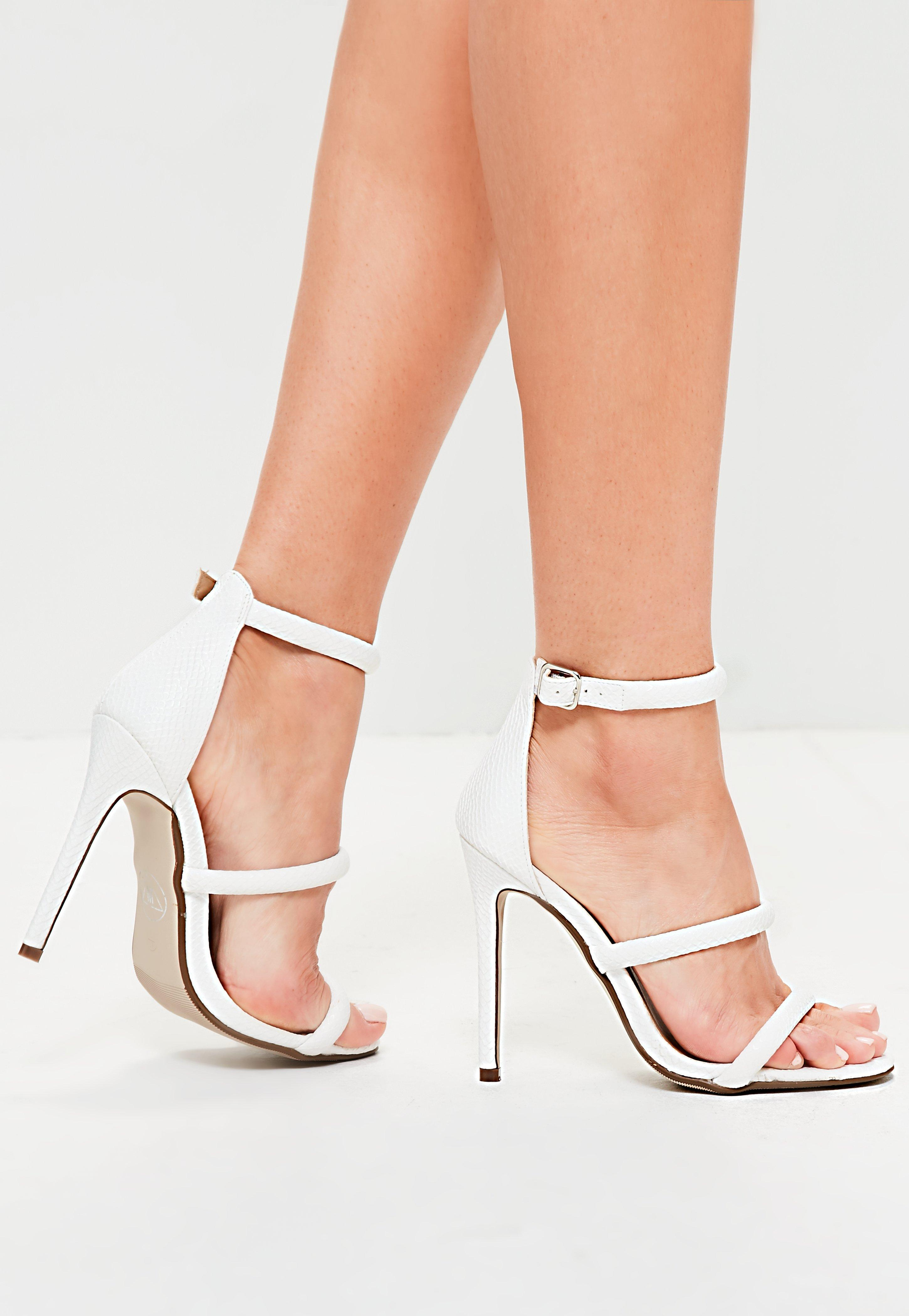 08b1b5ae3cef Lyst - Missguided White Rounded Three Strap Barely There Heels in White