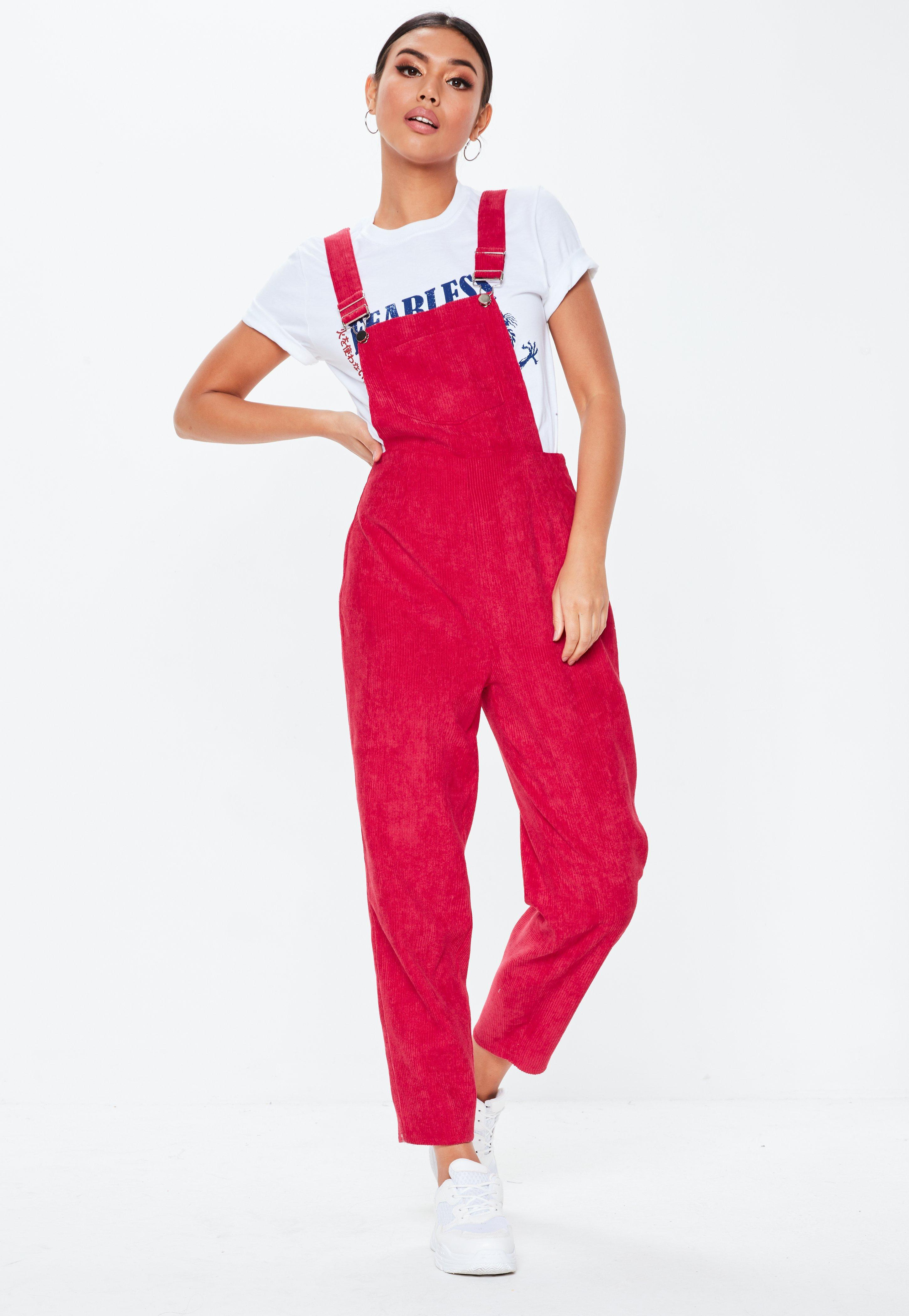 3def7528e85 Missguided Red Cord Dungaree Jumpsuit in Red - Lyst