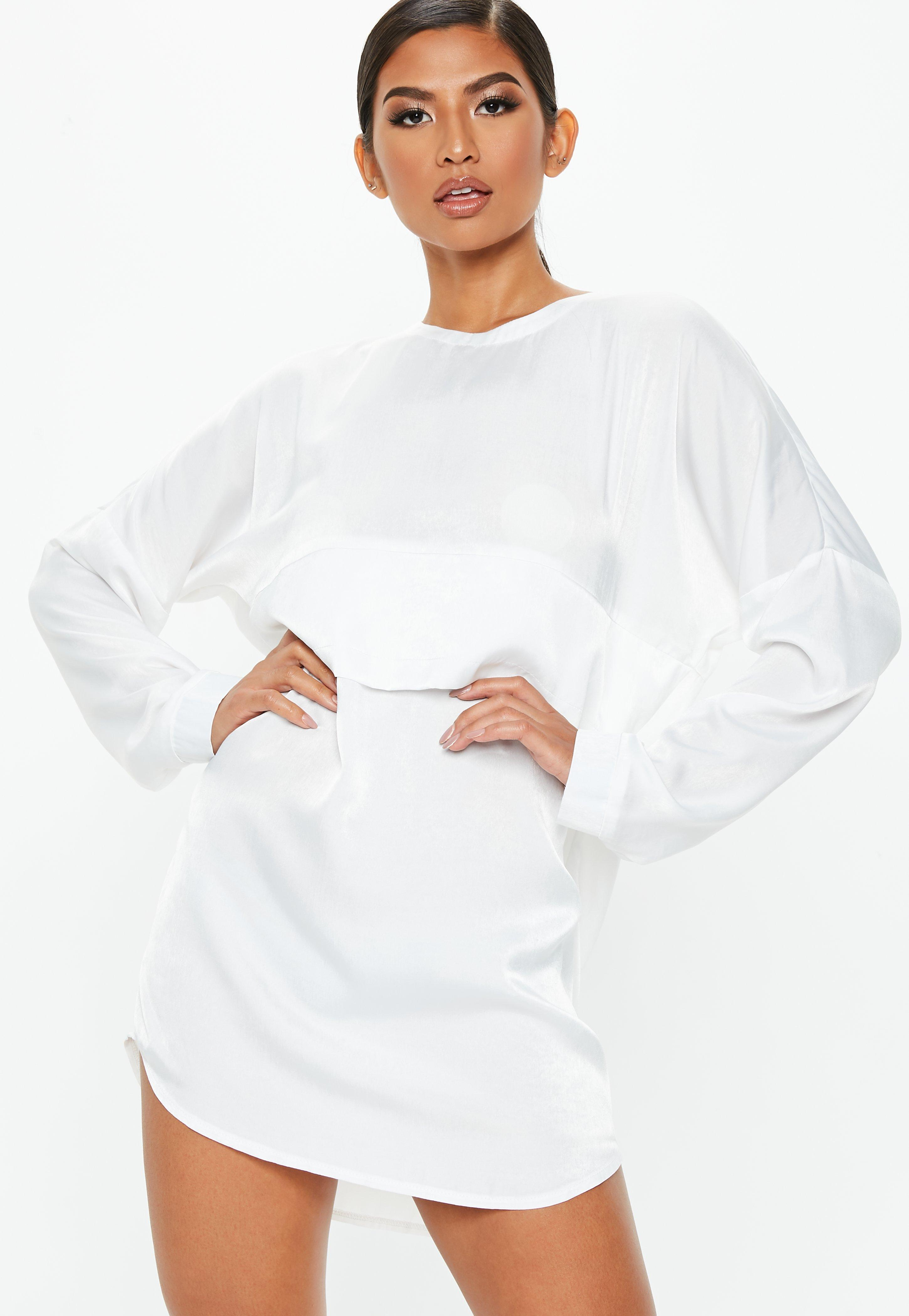 3646805ab41 Lyst - Missguided White Oversized Satin Overlay Dress in White