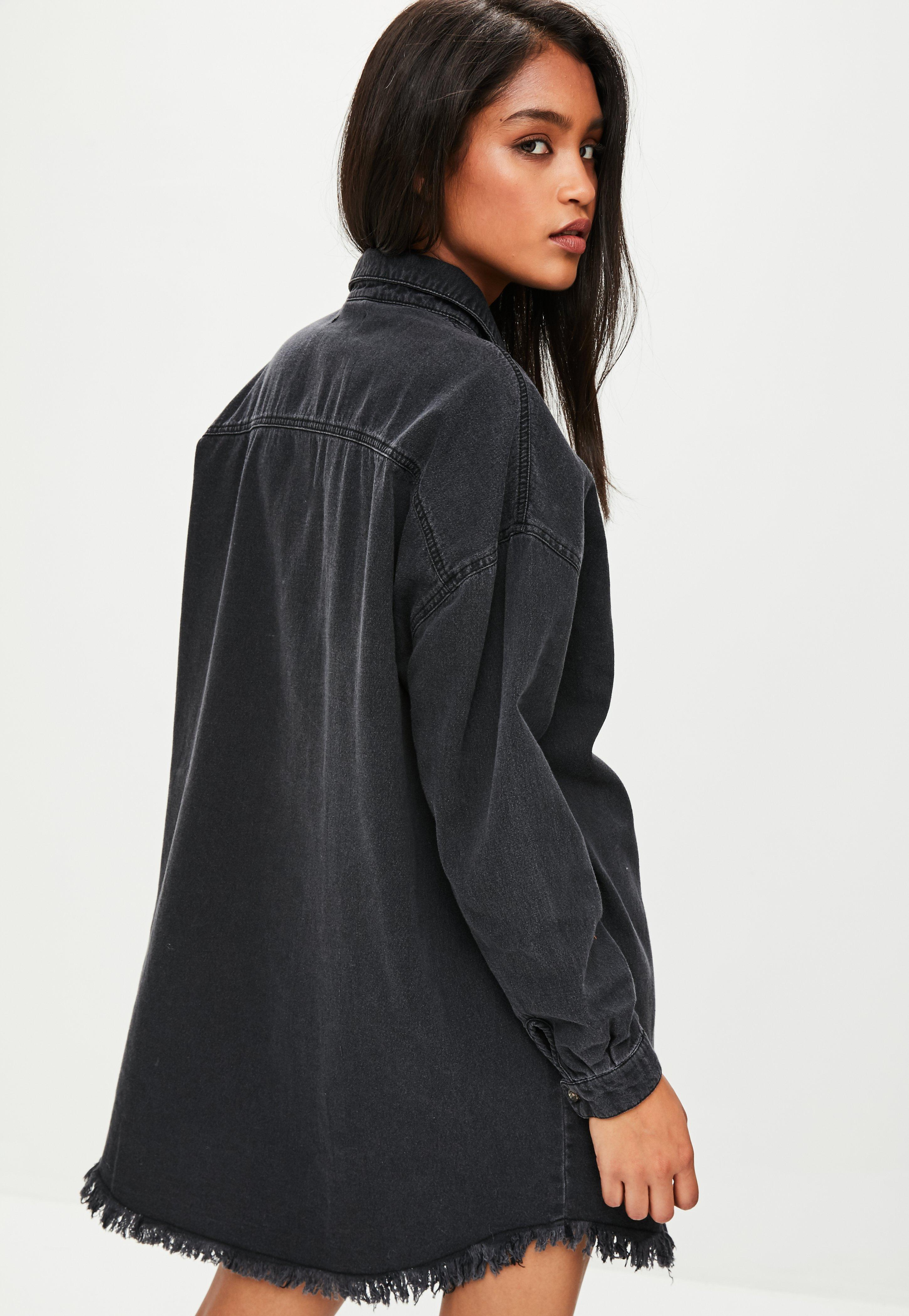 a13c630f4bc Lyst - Missguided Black Oversized Denim Shirt Dress in Black