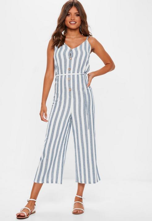 e2a1c16de37 Missguided Blue Striped Wide Leg Jumpsuit in Blue - Lyst