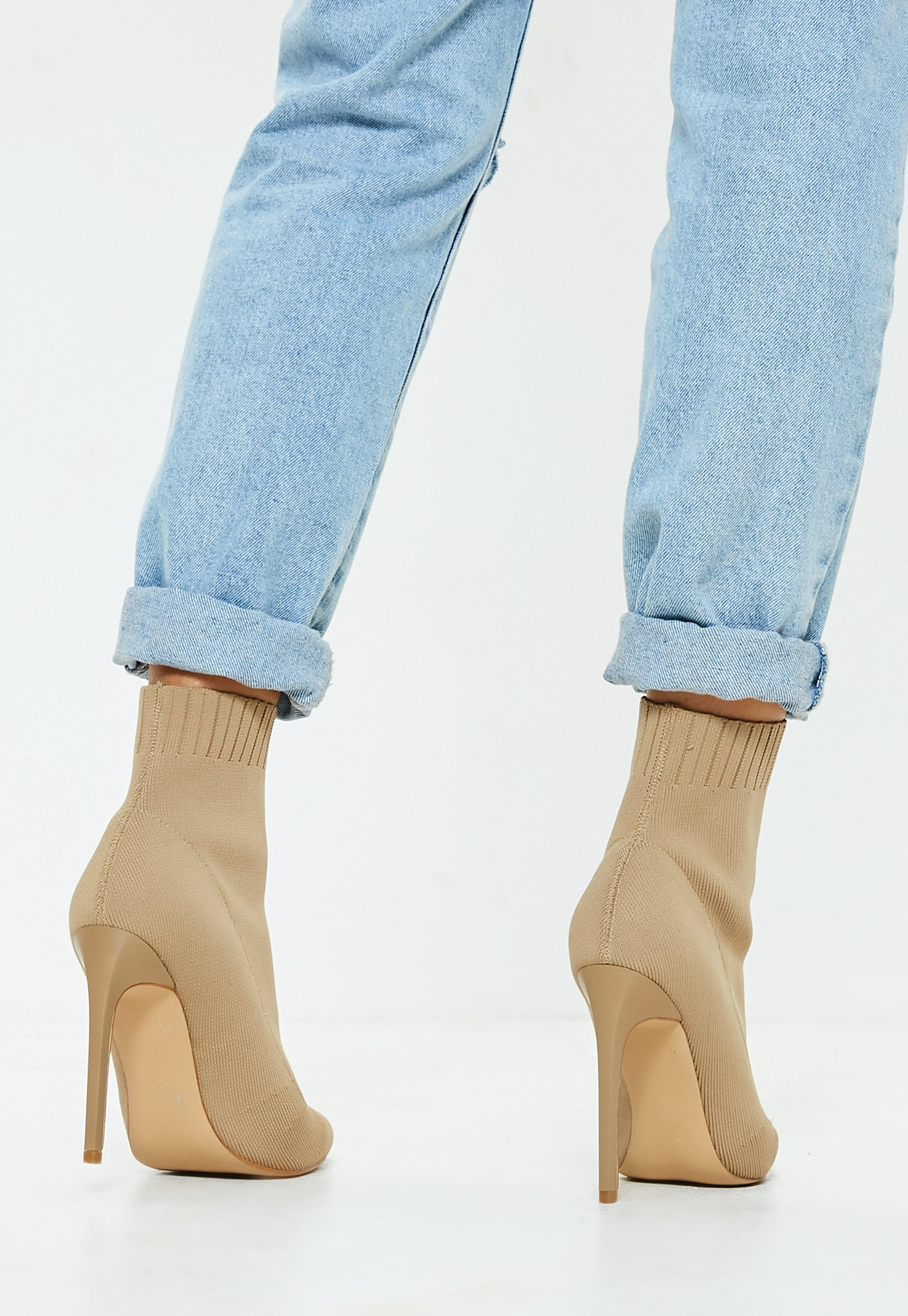 c1489679efd1 Lyst - Missguided Nude Knitted Pointed Toe Sock Ankle Boots in Blue