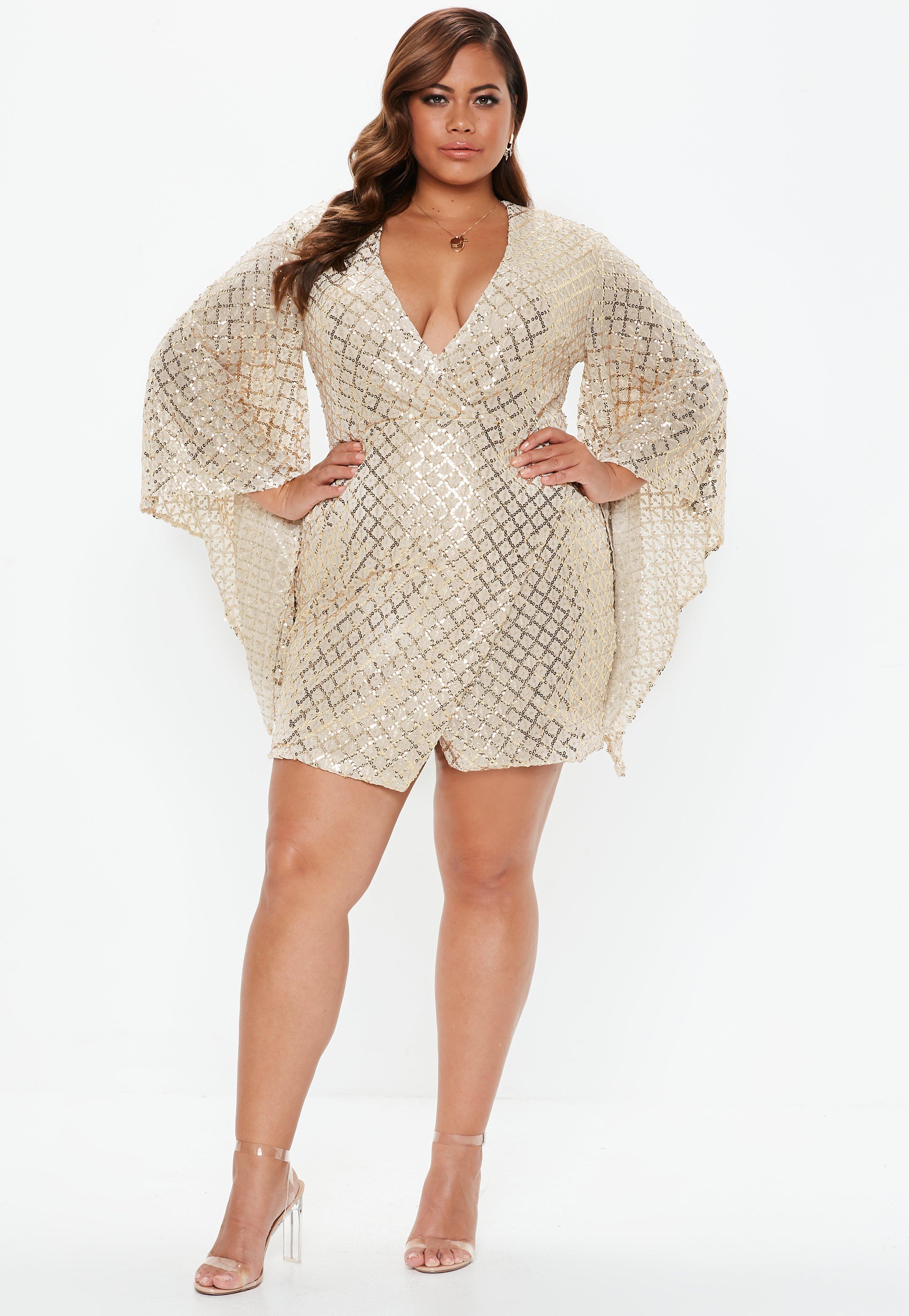 Missguided - Metallic Plus Size Gold Sequin Wrap Mini Dress - Lyst. View  fullscreen 17a742e24
