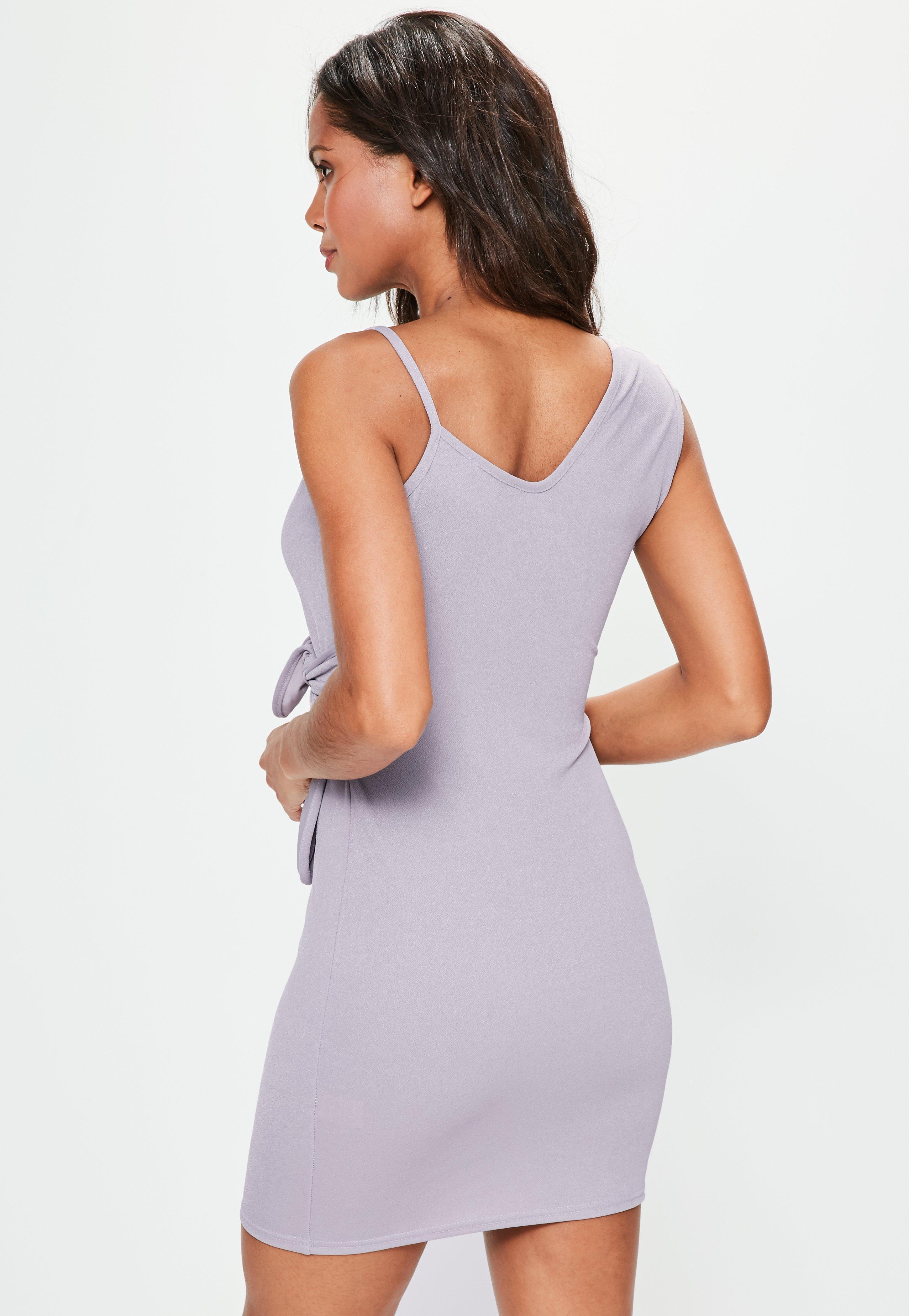 Lyst - Missguided Purple Plunge Wrap Tie Detail Bodycon Dress in Purple 165b4e5e3