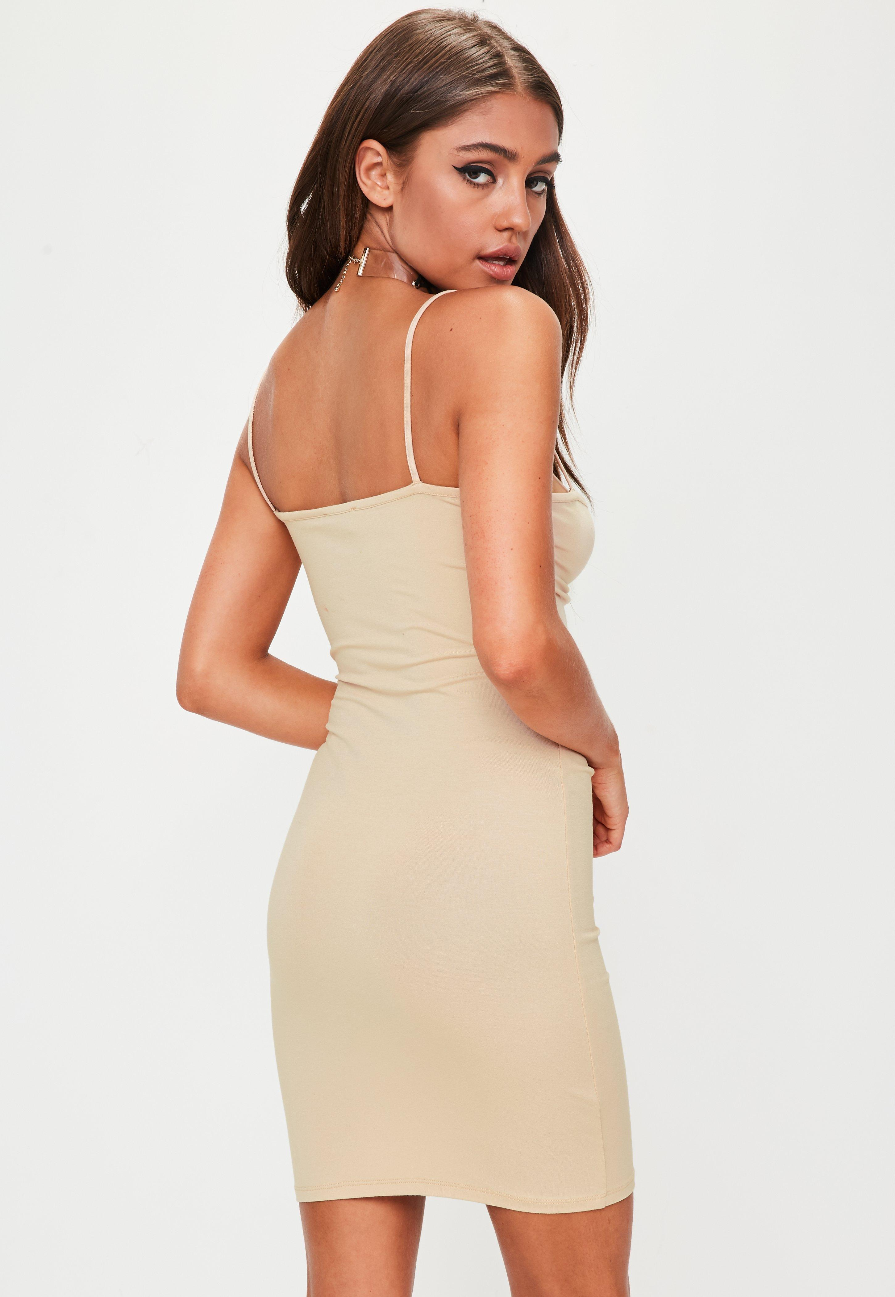 Lyst - Missguided Nude Faux Suede Scoop Back Bodycon Dress