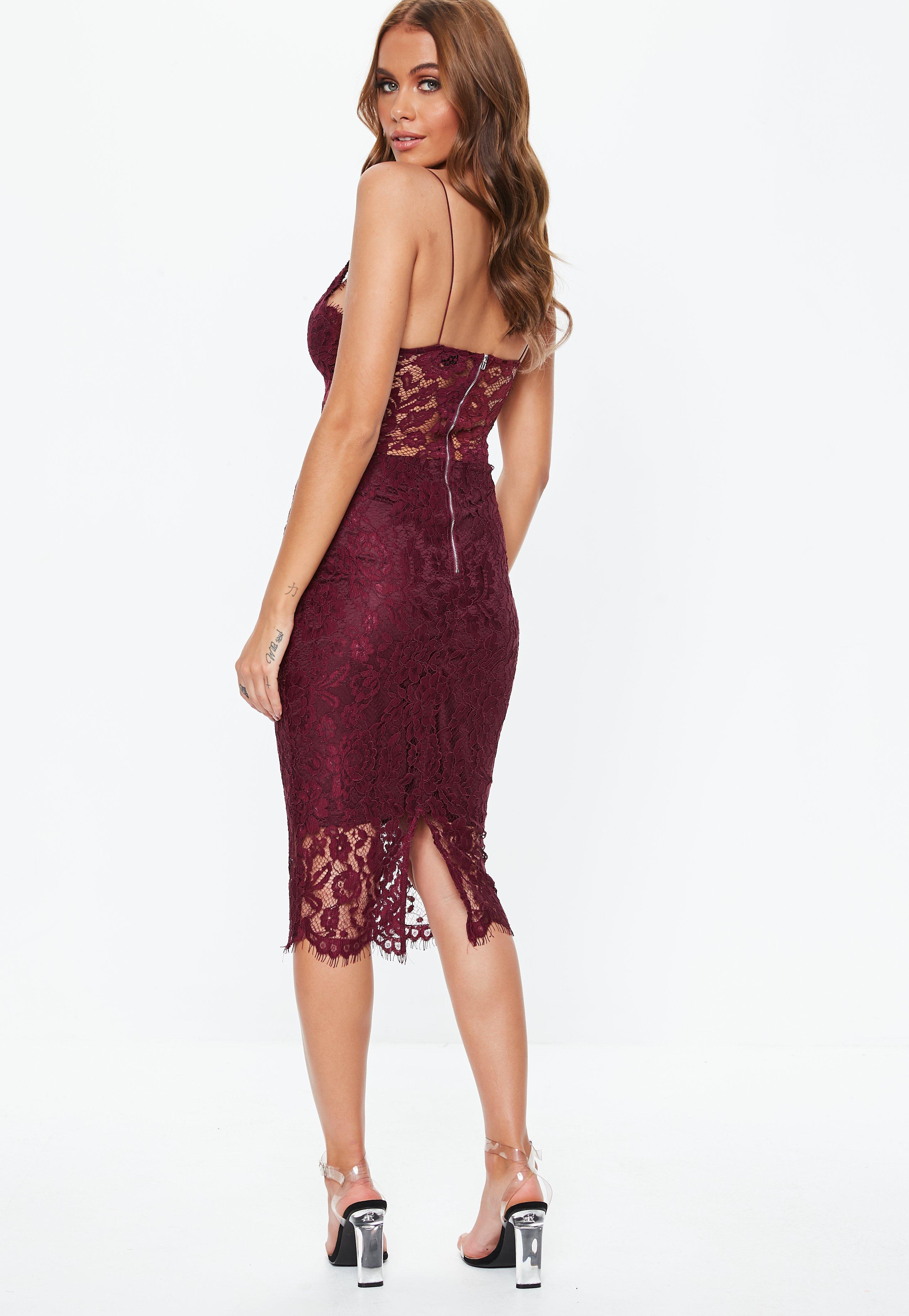 Burgundy Strappy Lace Midi Dress