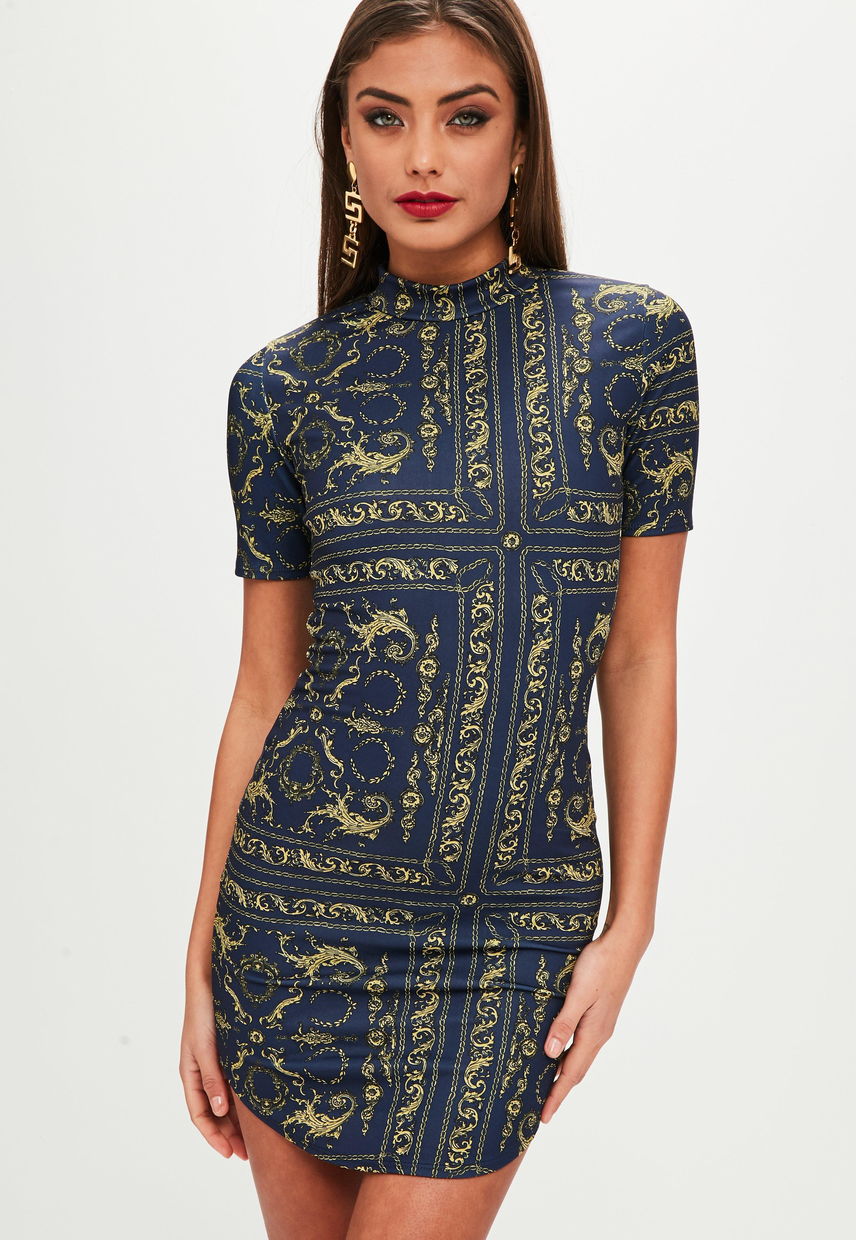 Missguided Synthetic Navy Printed High Neck Bodycon Dress in Blue