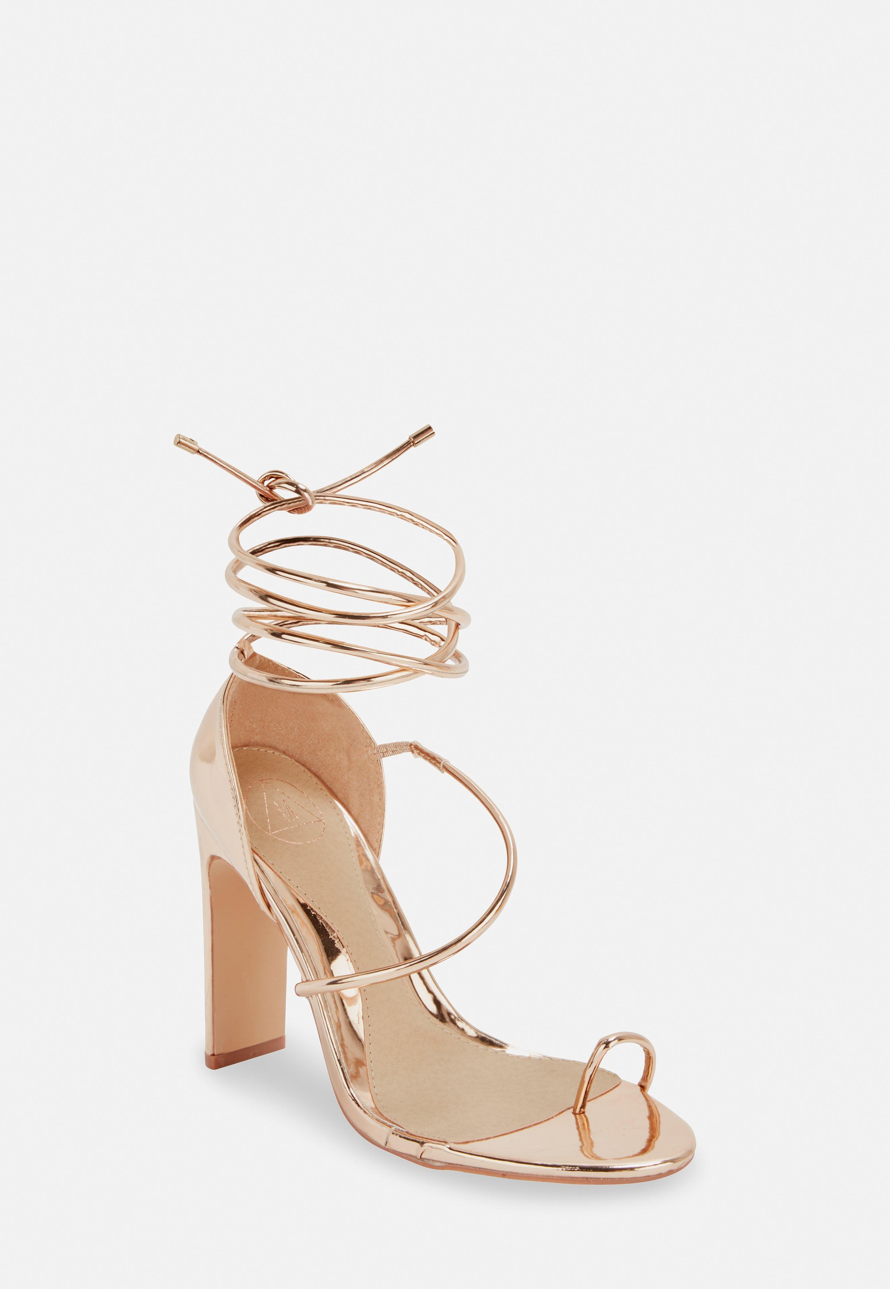 d1f9c87292 Missguided Rose Gold Strappy Toe Post Heeled Sandals in Pink - Lyst