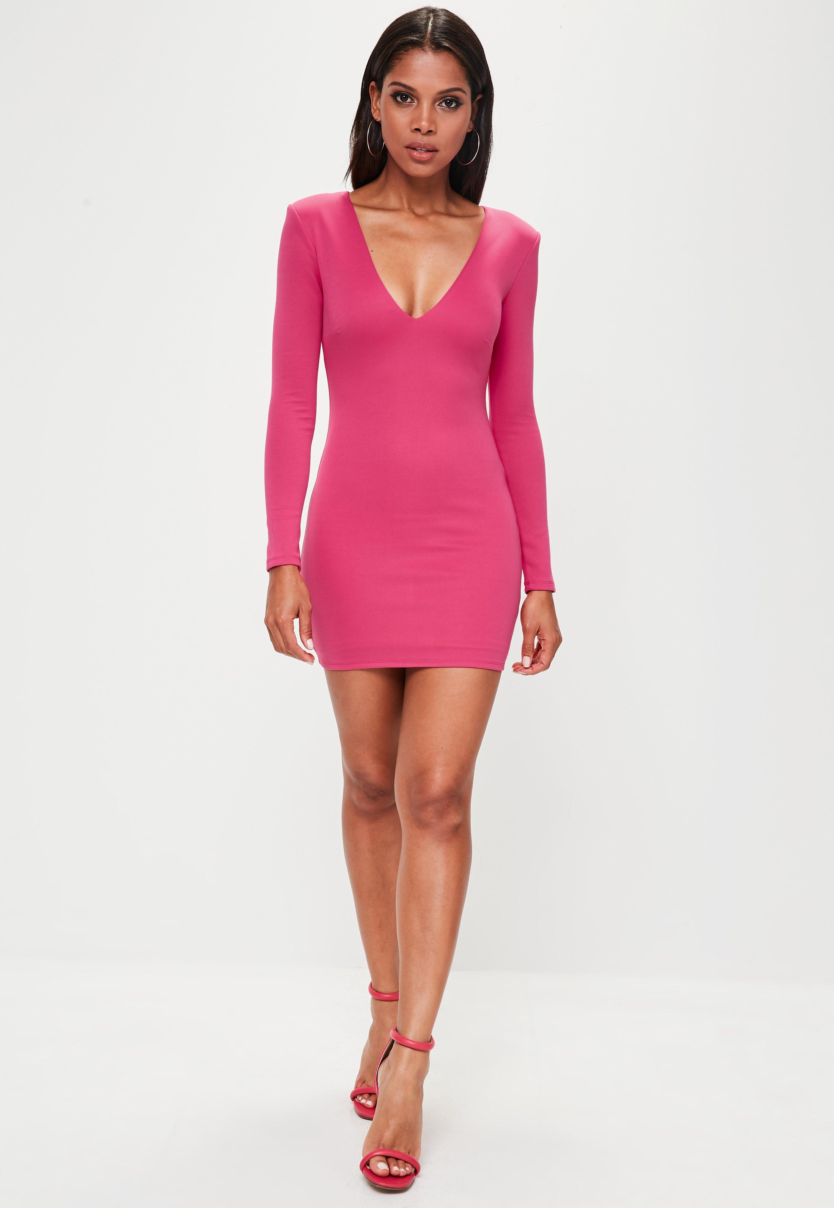 26fab97b6f07b Lyst - Missguided Pink Extreme Shoulder Plunge Mini Dress in Pink