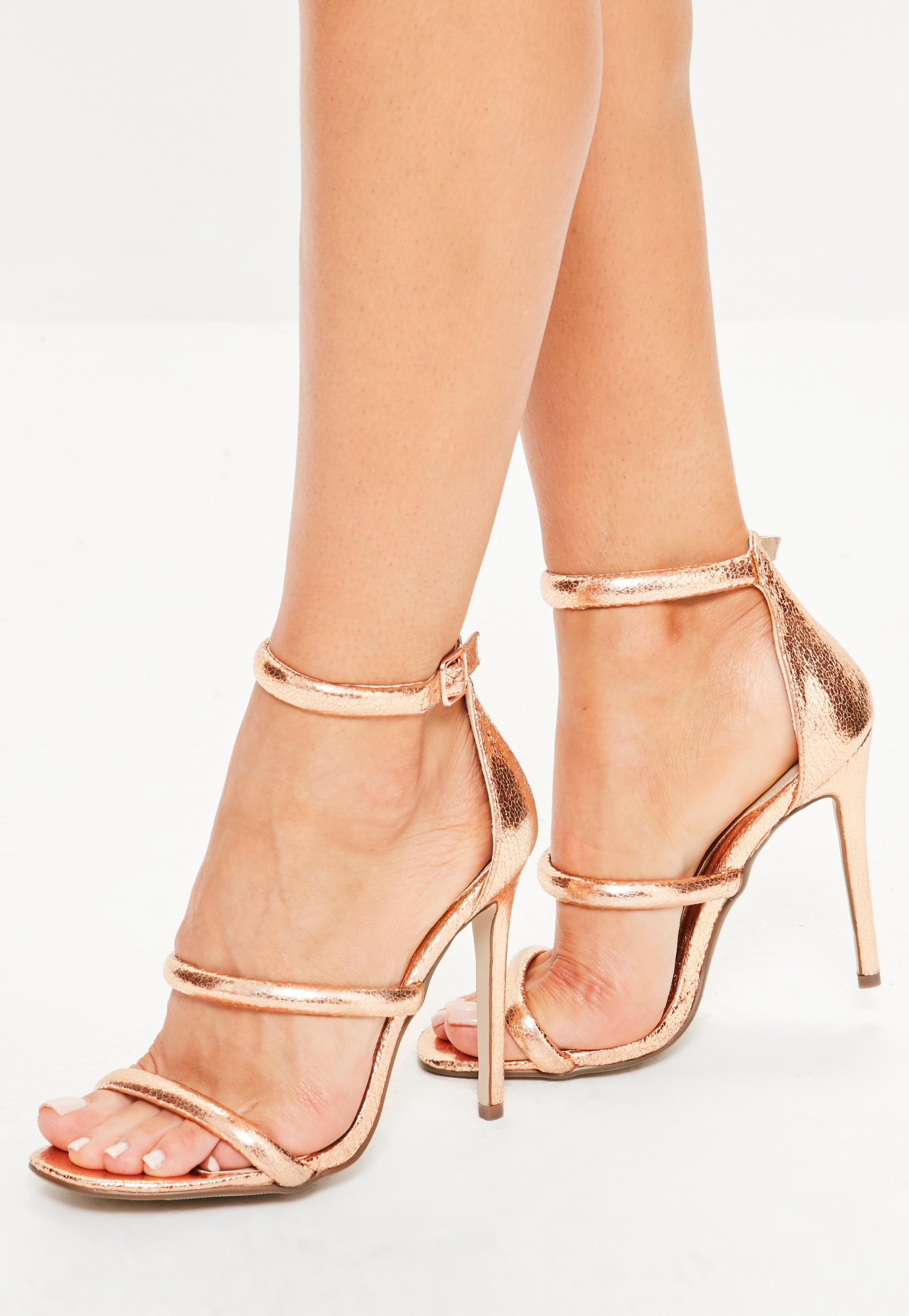 8c6a1d75d404 Missguided Rose Gold Rounded Three Strap Barely There Heels - Lyst
