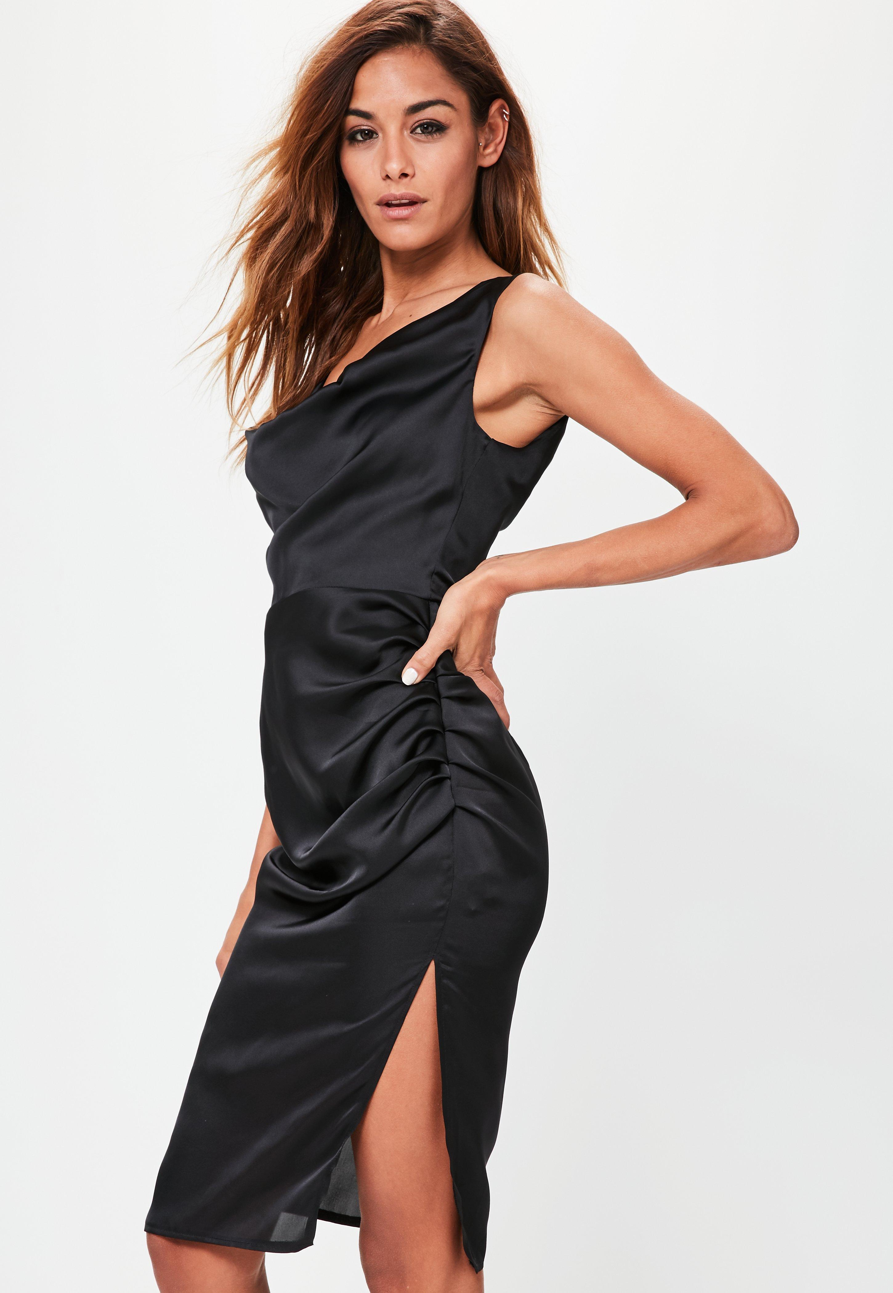 3b5e16eaaf4e Lyst - Missguided Black Strappy Cowl Split Side Midi Dress in Black