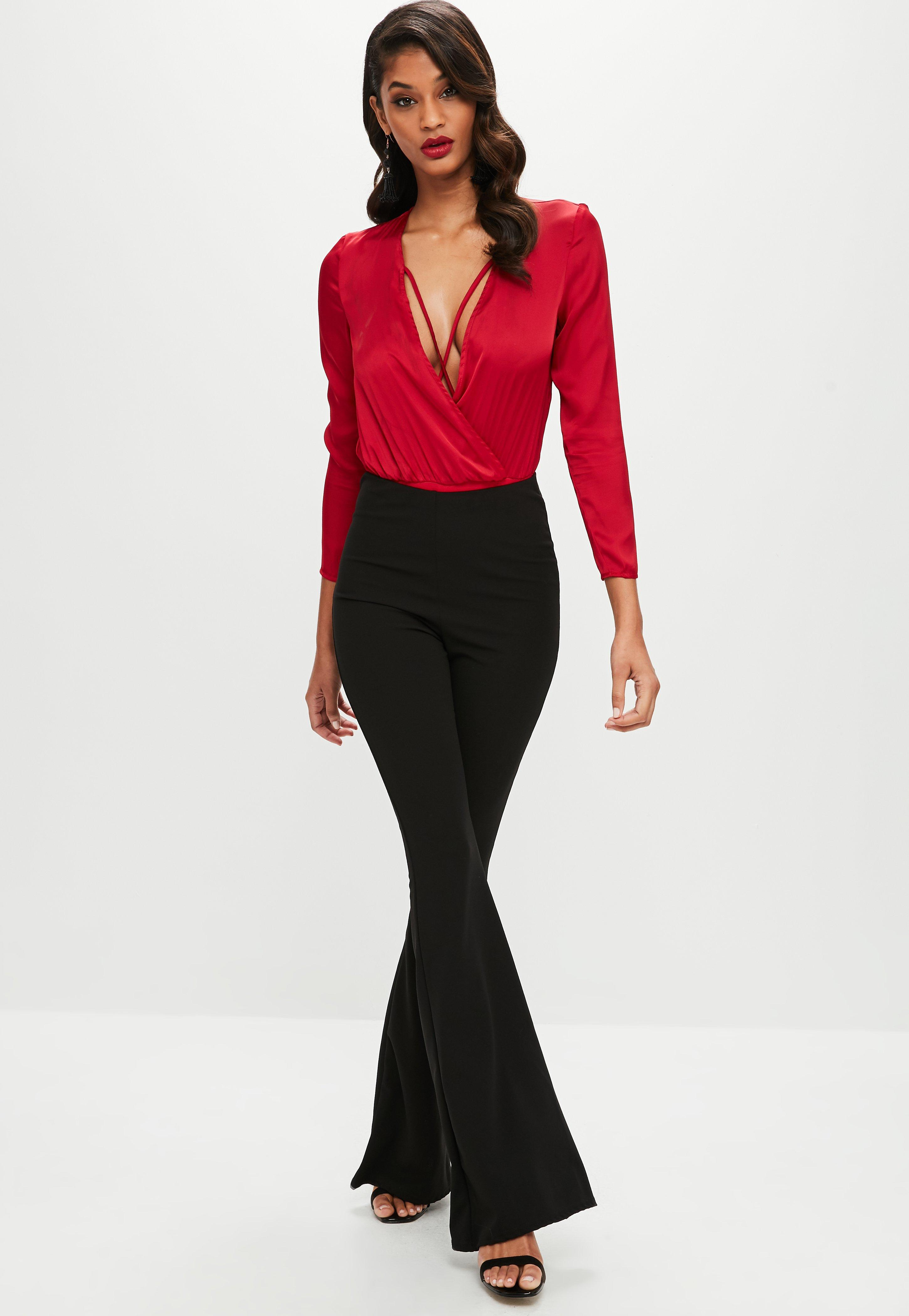 Lyst - Missguided Tall Red Satin Wrap Cross Strap Bodysuit in Red 9a300f448