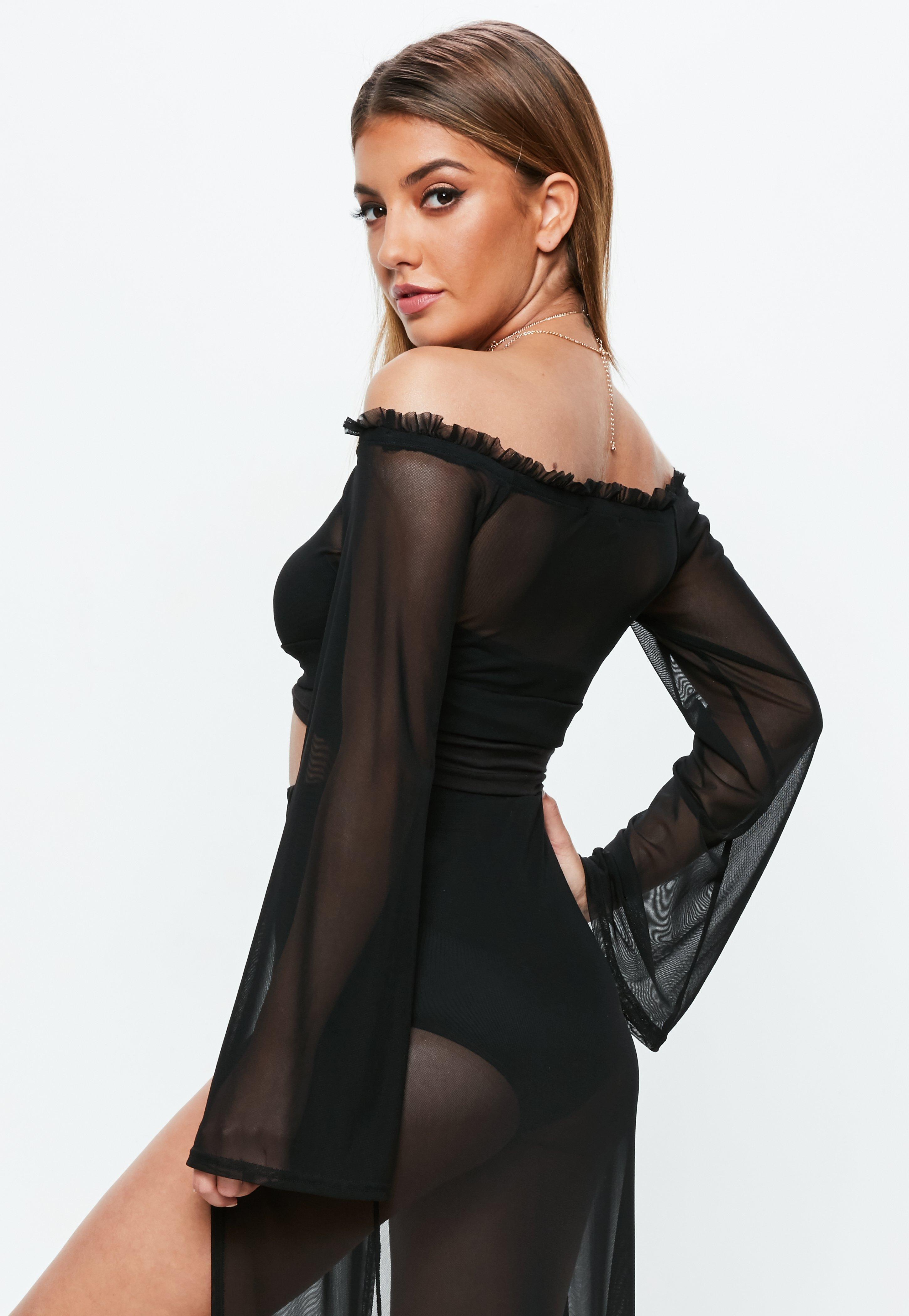 7d8be963a90 Missguided - Black Mesh Bardot Top - Lyst. View fullscreen