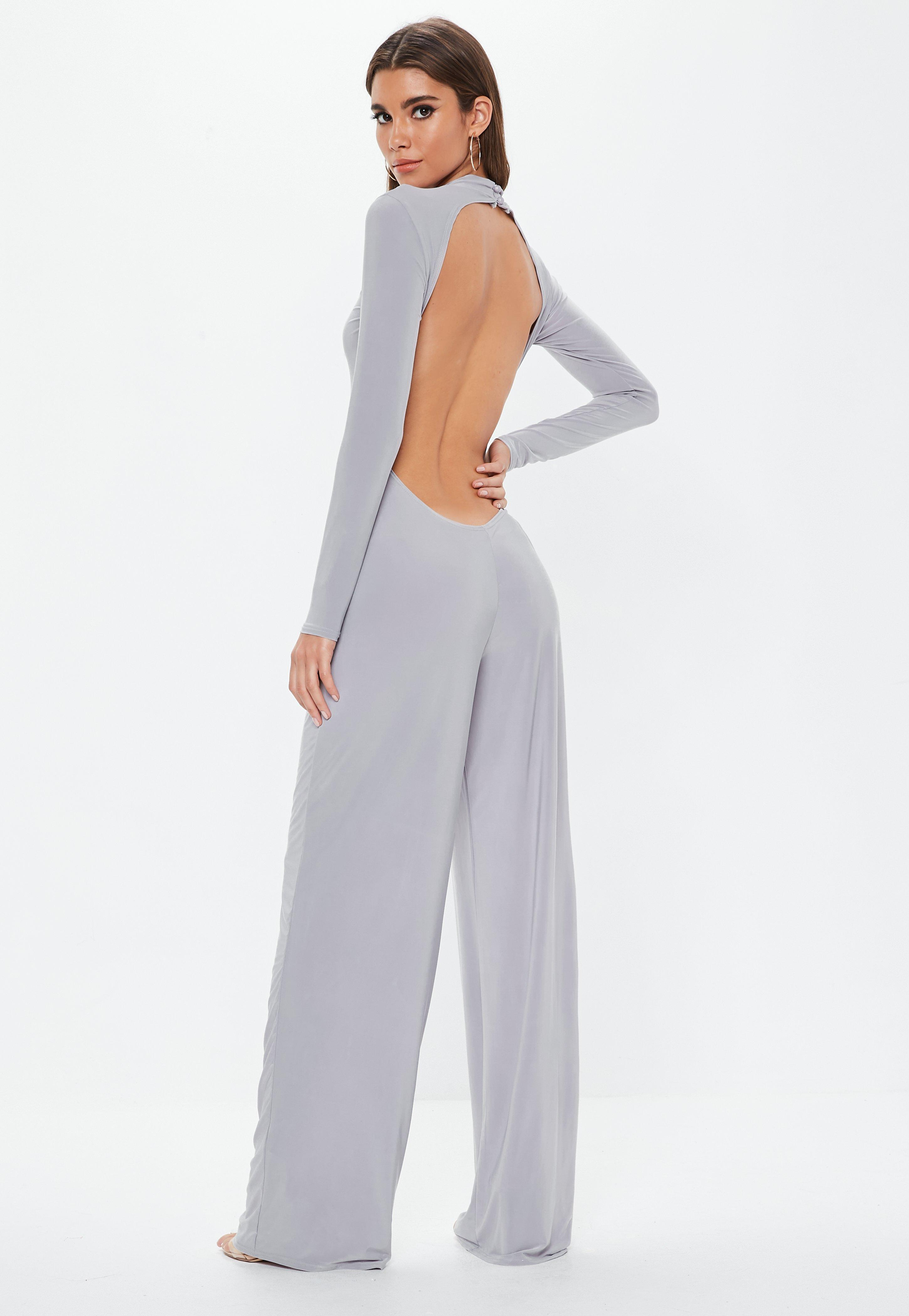 42b2443036e Lyst - Missguided Gray Open Back Slinky Jumpsuit in Gray