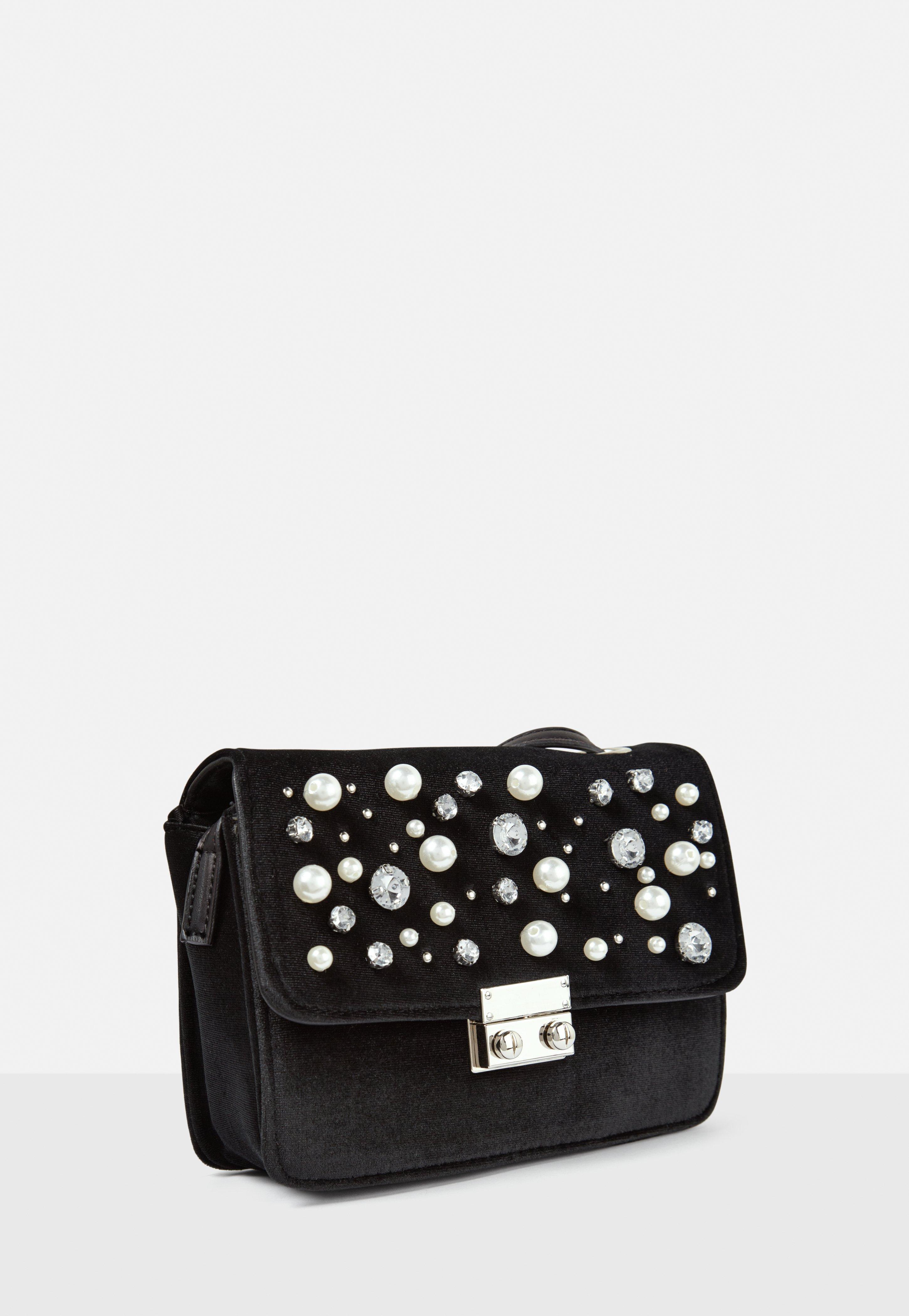 Missguided Black Embellished Velvet Cross Body Bag