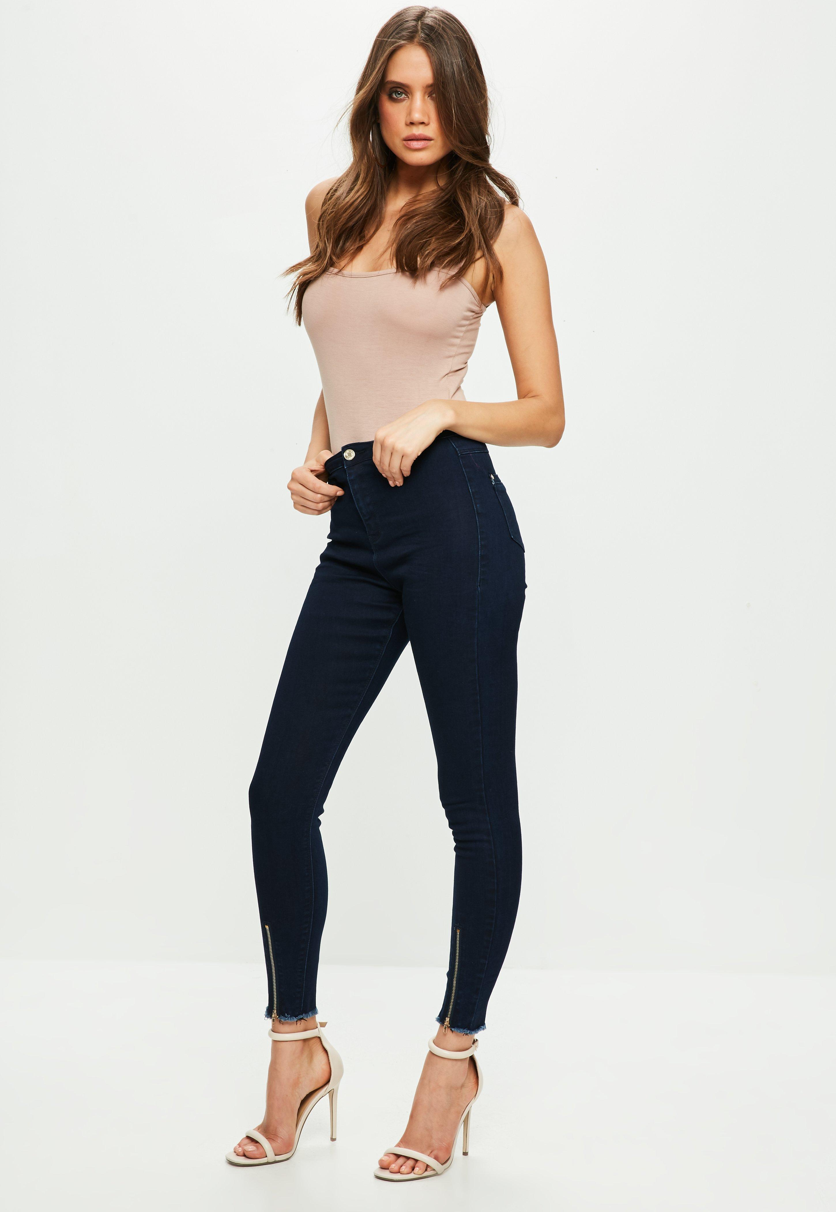 Missguided Denim Blue Vice High Waisted Skinny Jeans