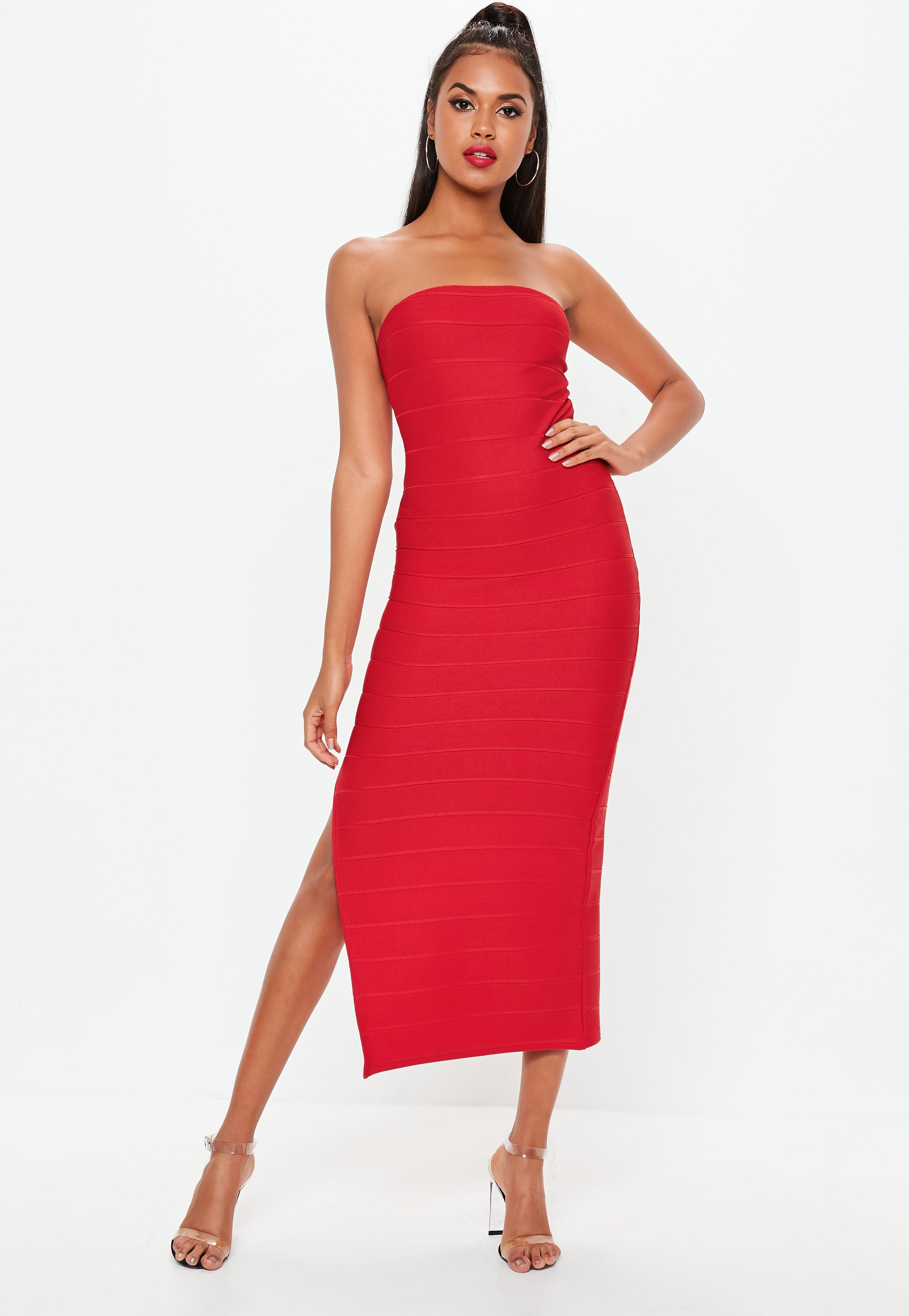 Missguided Red Bandage Bandeau Maxi Dress in Red - Lyst e3f78d88a