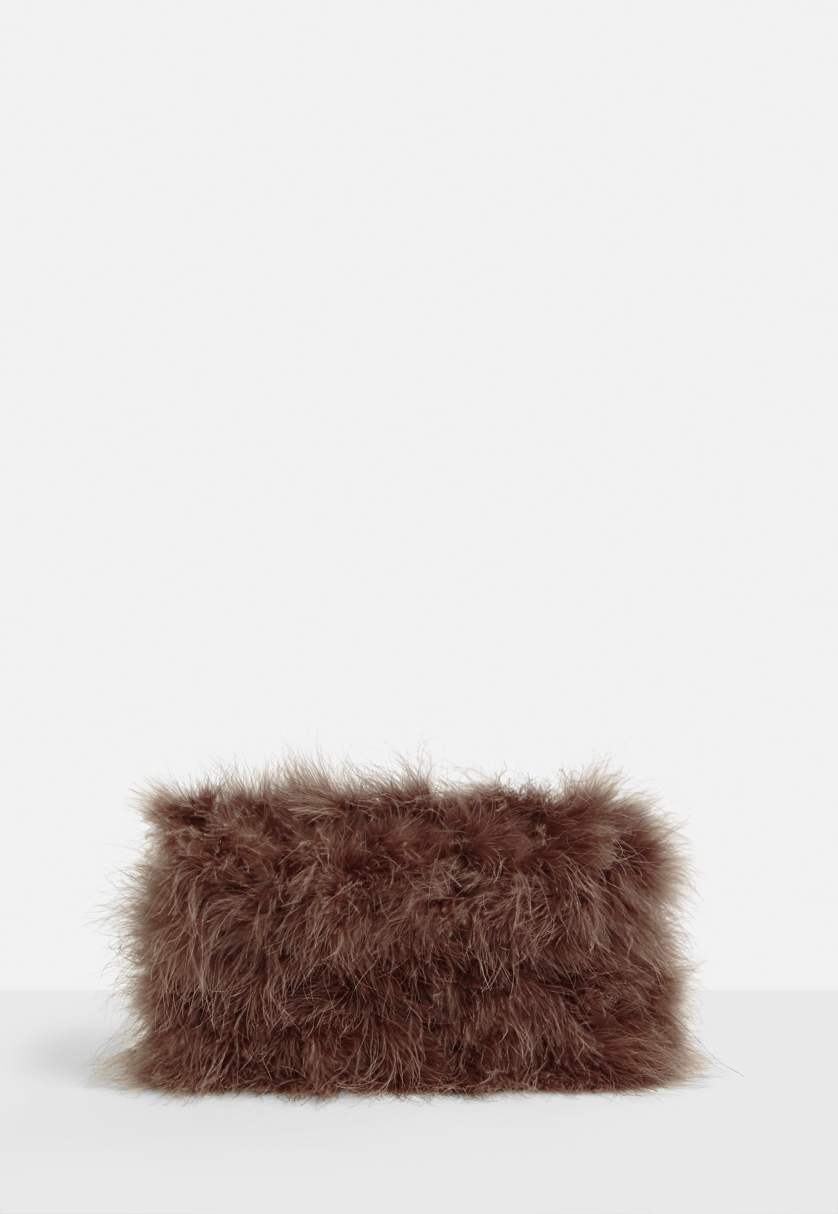 Lyst - Missguided Brown Fluffy Feather Clutch Bag in Brown ab87491d631a2